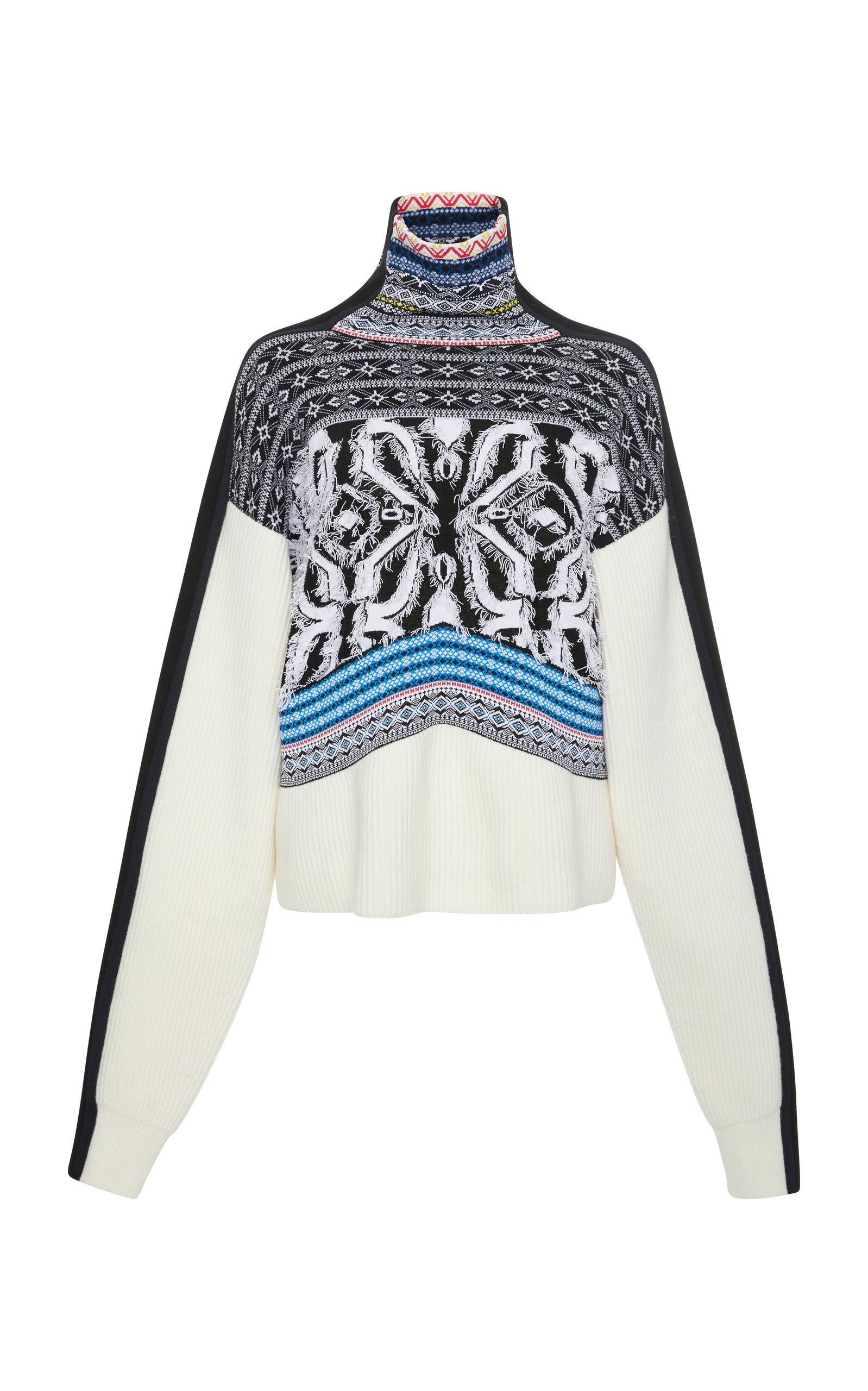 SPORTMAX Fair Isle Wool-Blend Turtleneck Sweater in White
