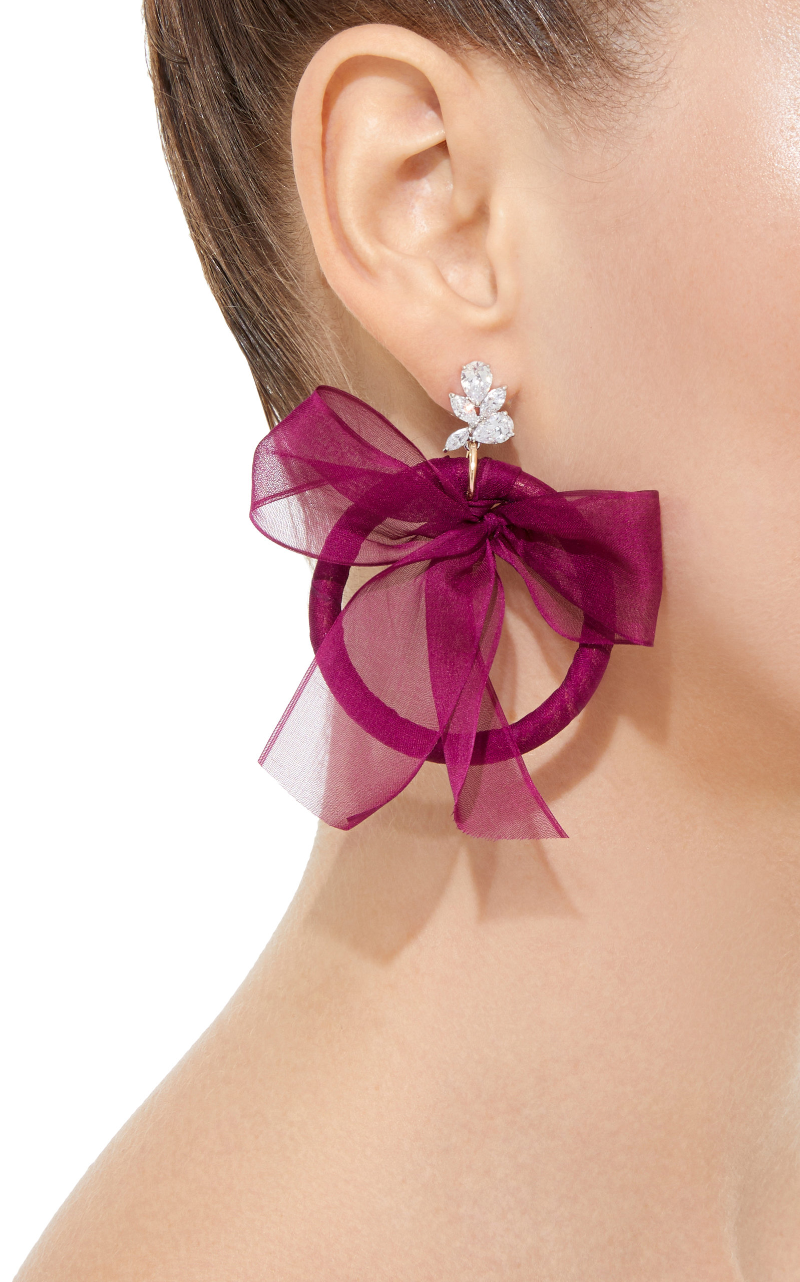 Crystal Silk And Silver-Plated Hoop Earrings Fallon ziqvZAMiM