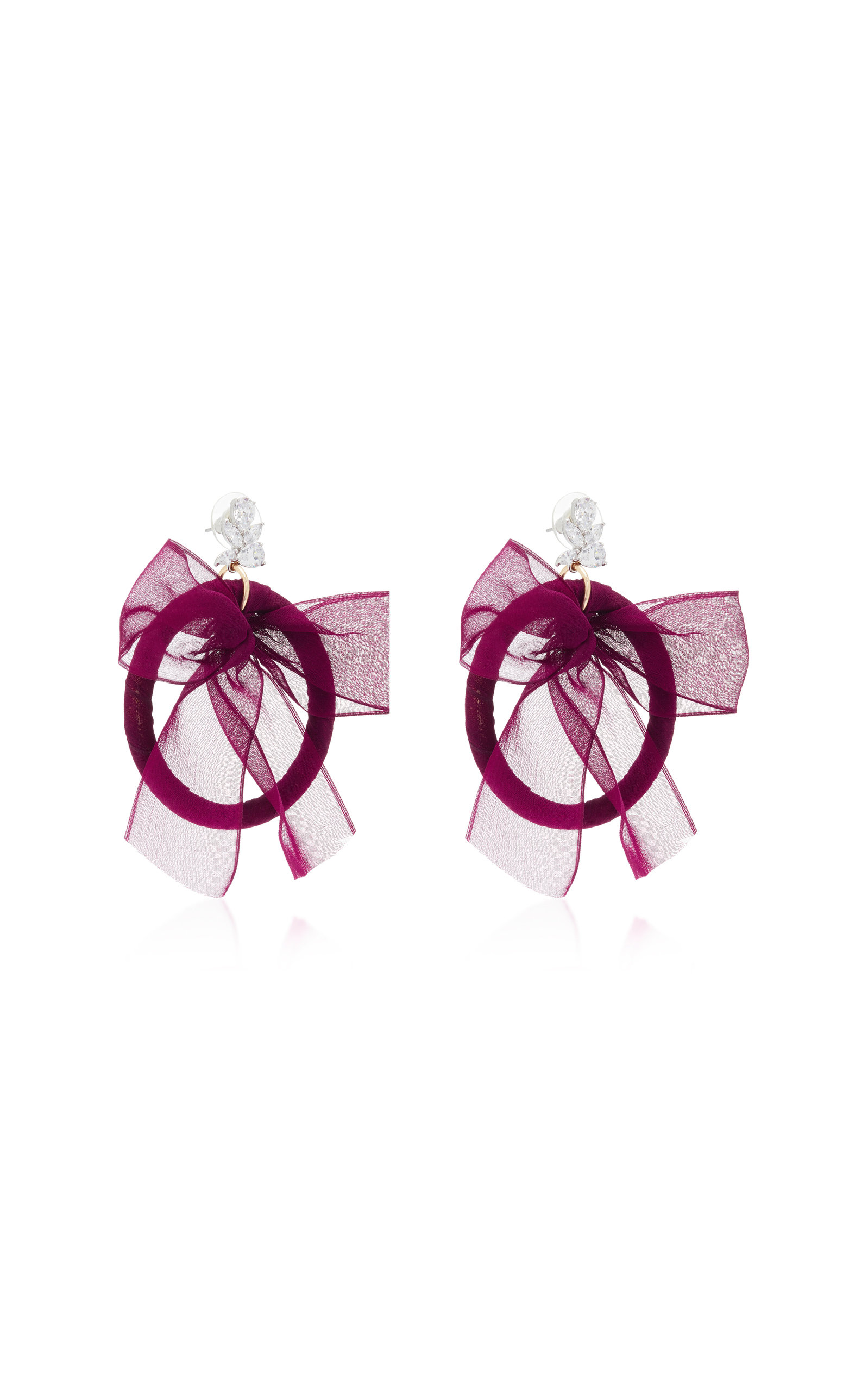 Crystal Silk And Silver-Plated Hoop Earrings Fallon oQyrtr