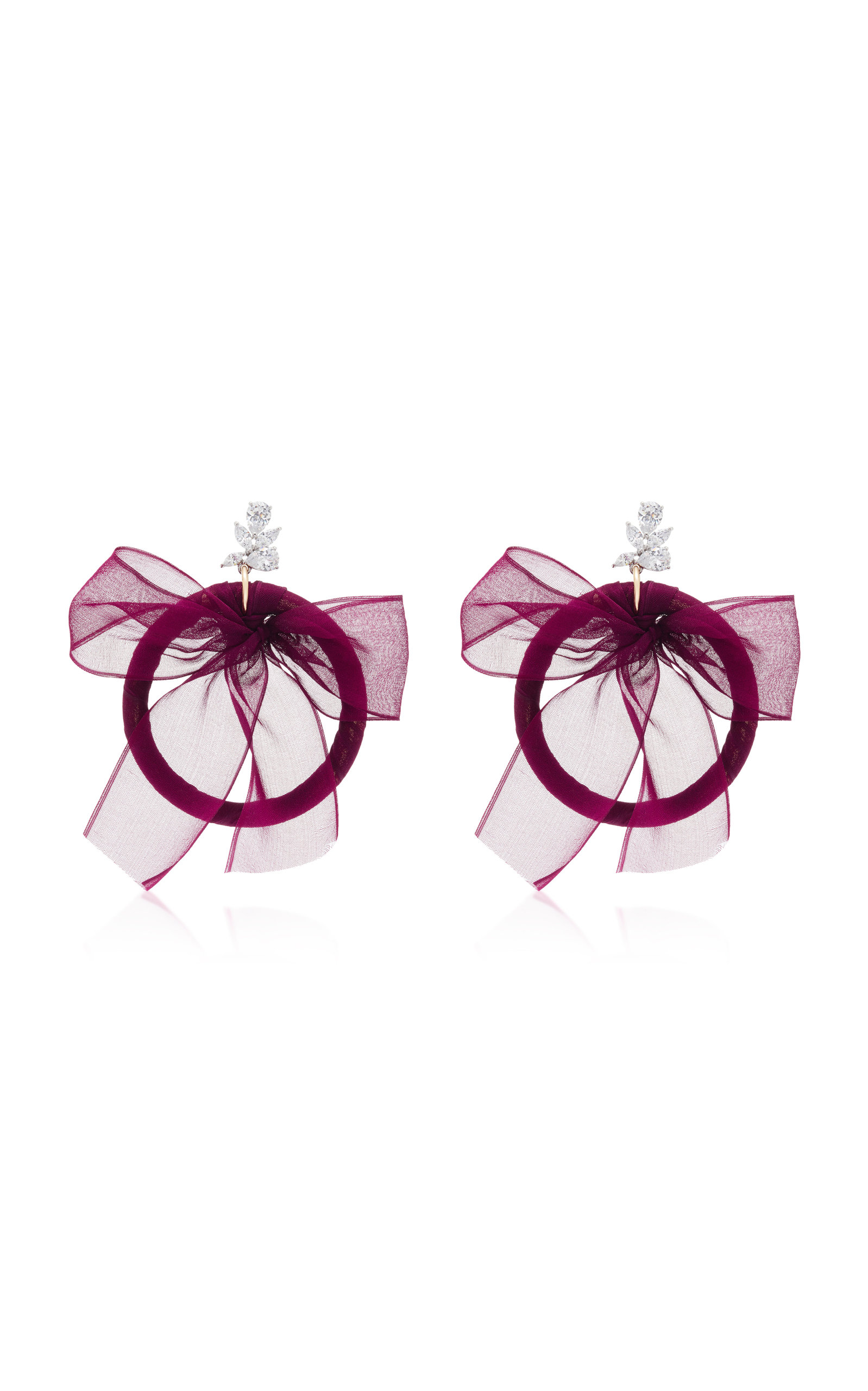 Crystal Silk And Silver-Plated Hoop Earrings Fallon sd7Nf1K7