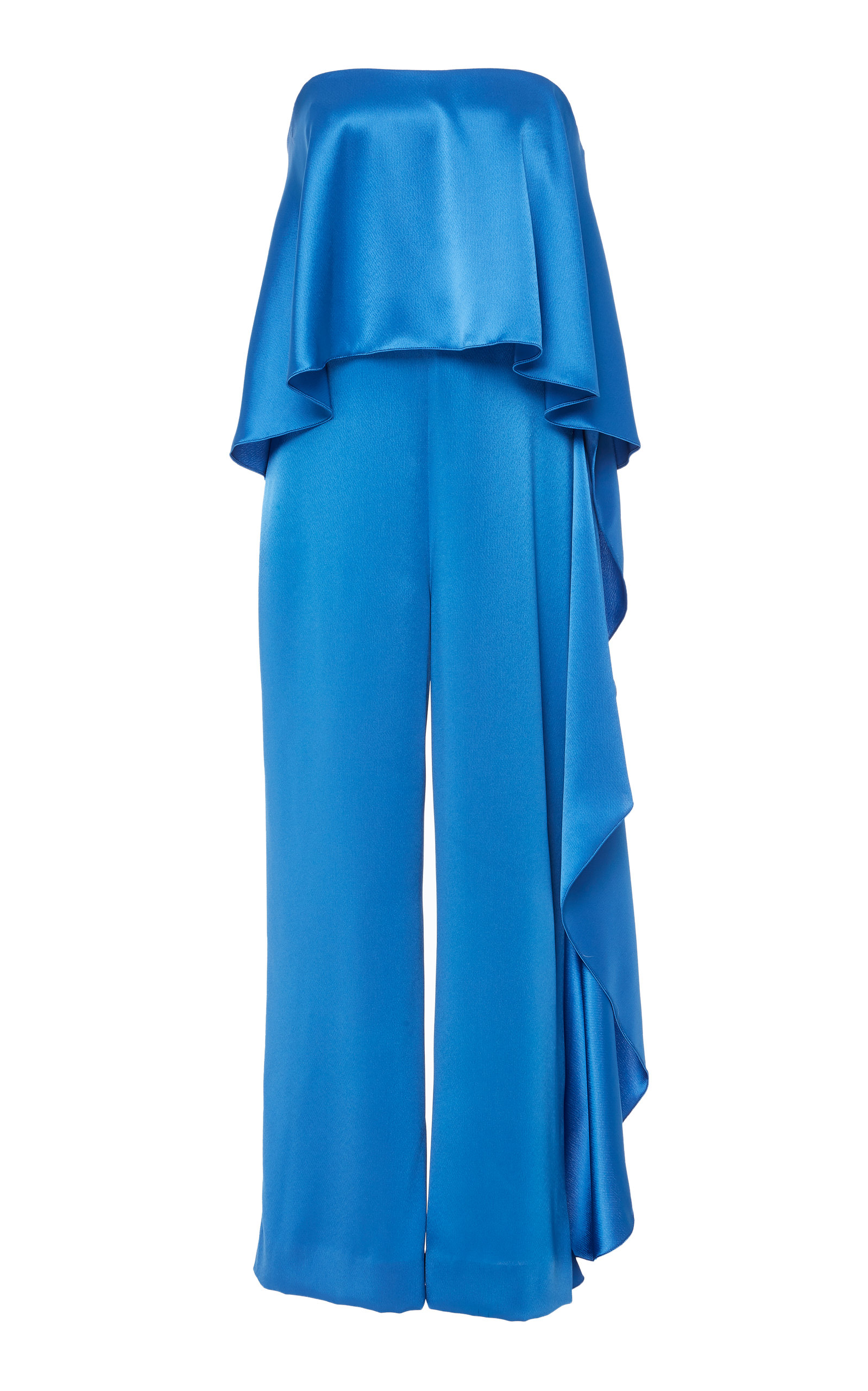 MESTIZA NEW YORK Jacqueline Satin Strapless Jumpsuit in Blue