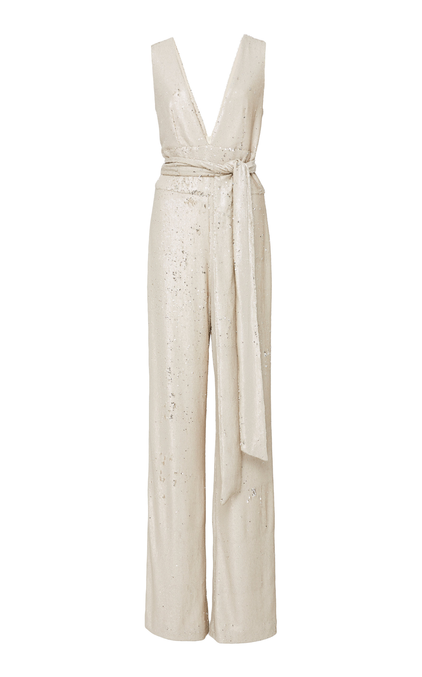 MESTIZA NEW YORK Chrissy Sequin Jumpsuit in Neutral