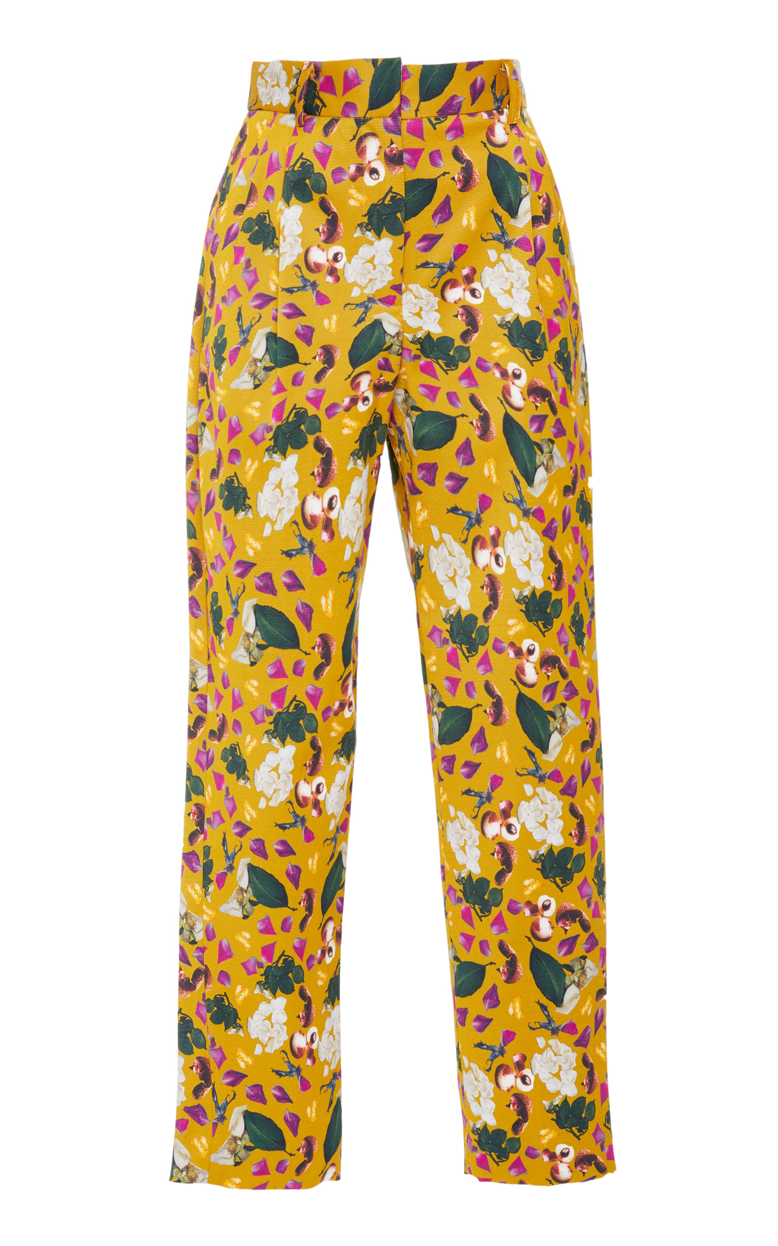 CHRISTINE ALCALAY Pleated Silk Printed Trouser