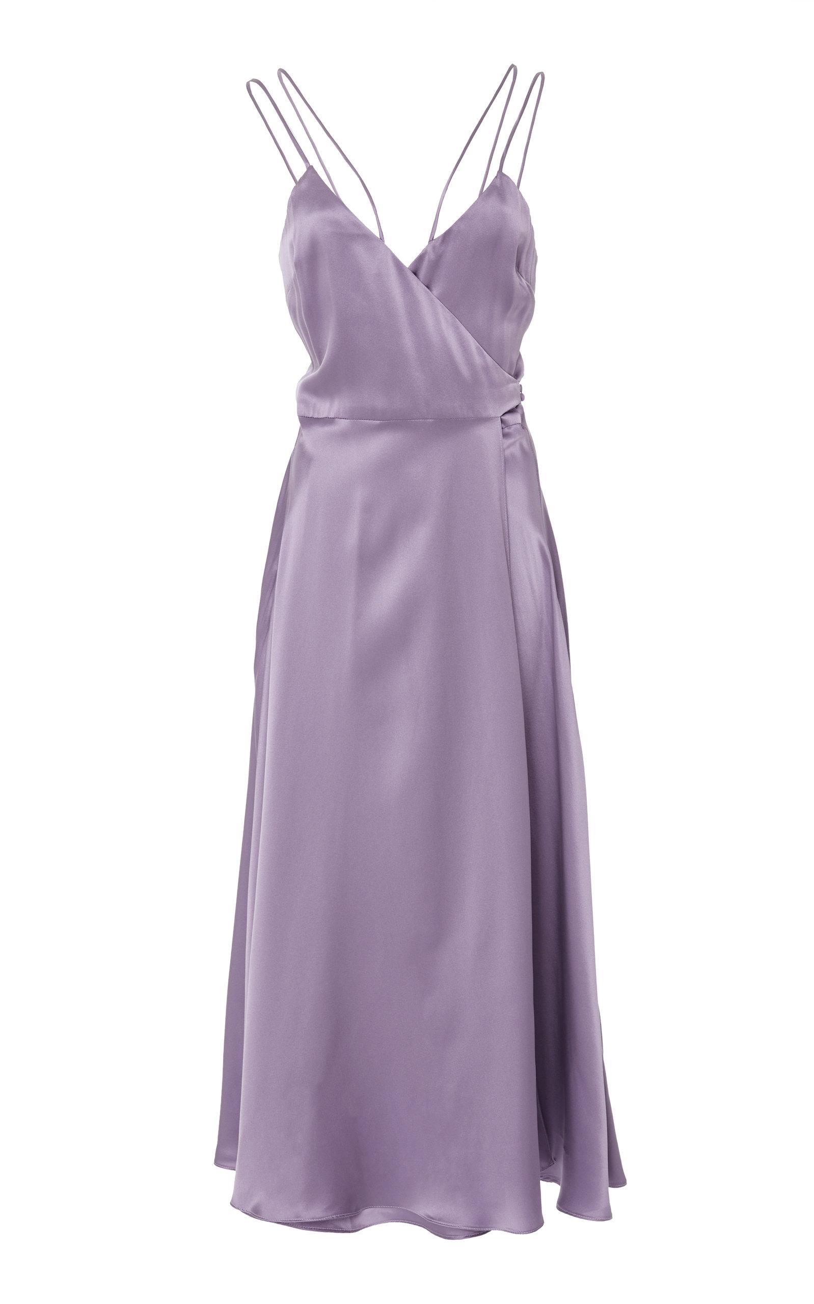 CHRISTINE ALCALAY Strappy Wrap Midi Dress in Purple