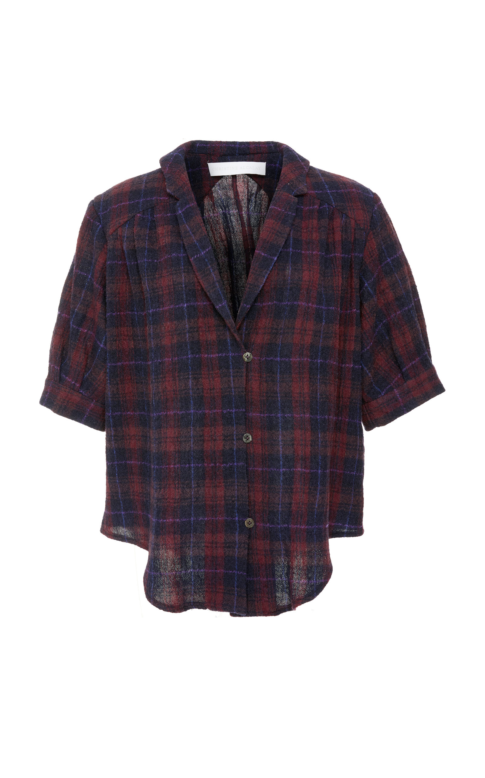 CHRISTINE ALCALAY Short Sleeve Wool Blouse in Plaid