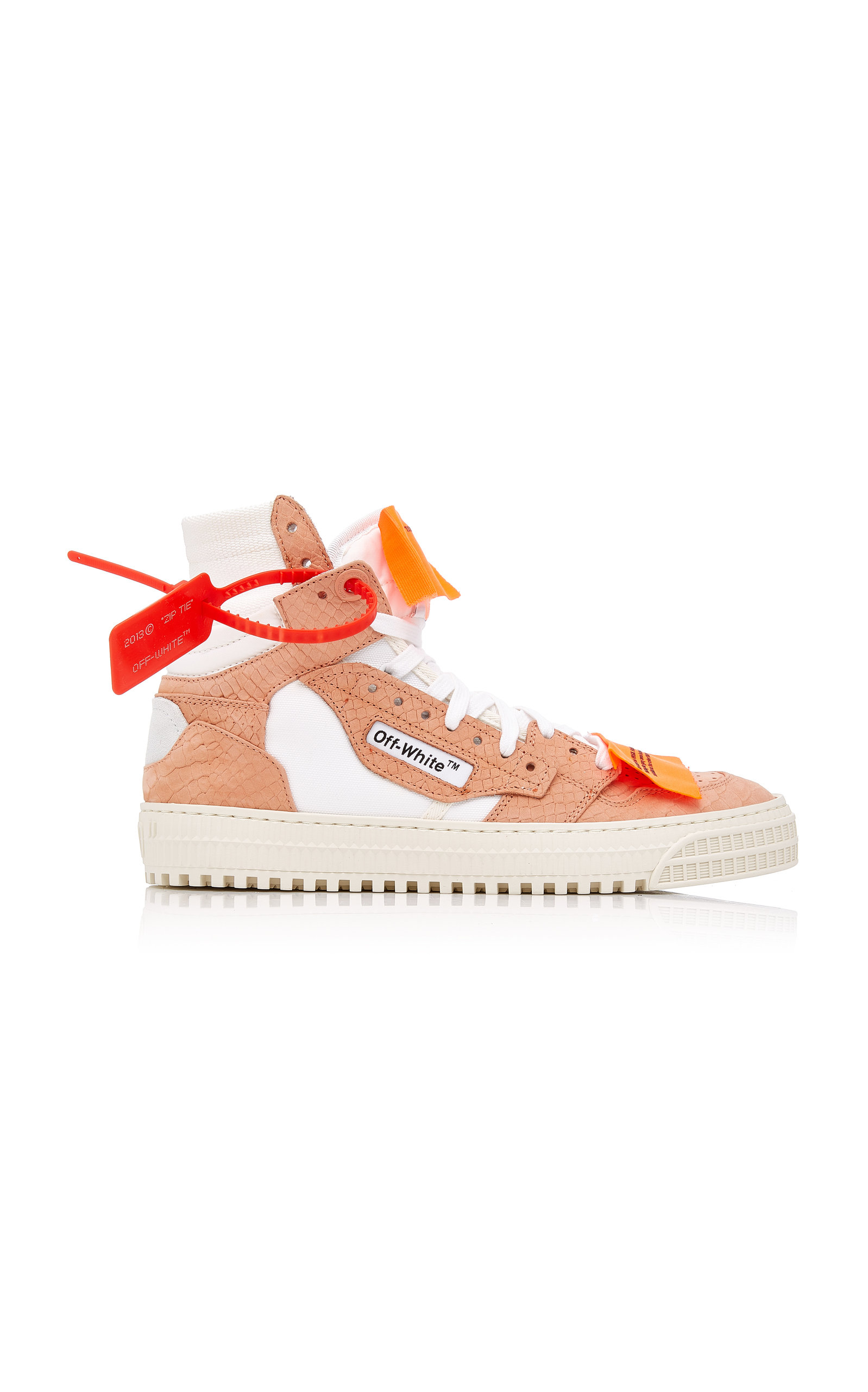 Off-white AppliquÉd Paneled Textured-leather Sneakers In Neutrals