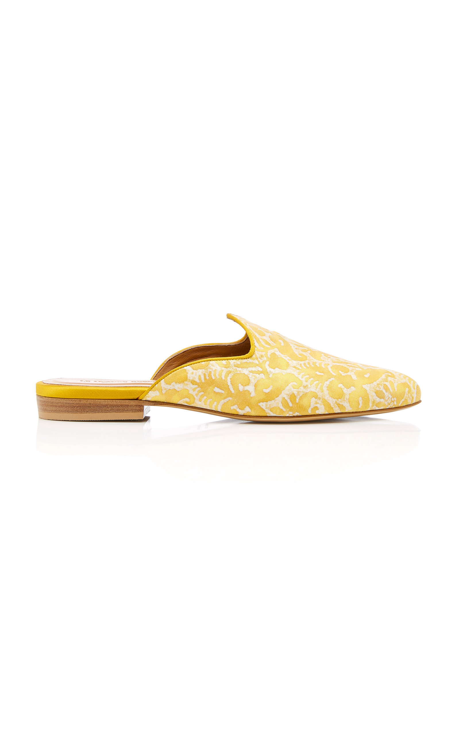 CABANA X LE MONDE BERYL IN COLLABORATION WITH FORTUNY FABRICS M'O Exclusive Delfino Fortuny Mules in Yellow