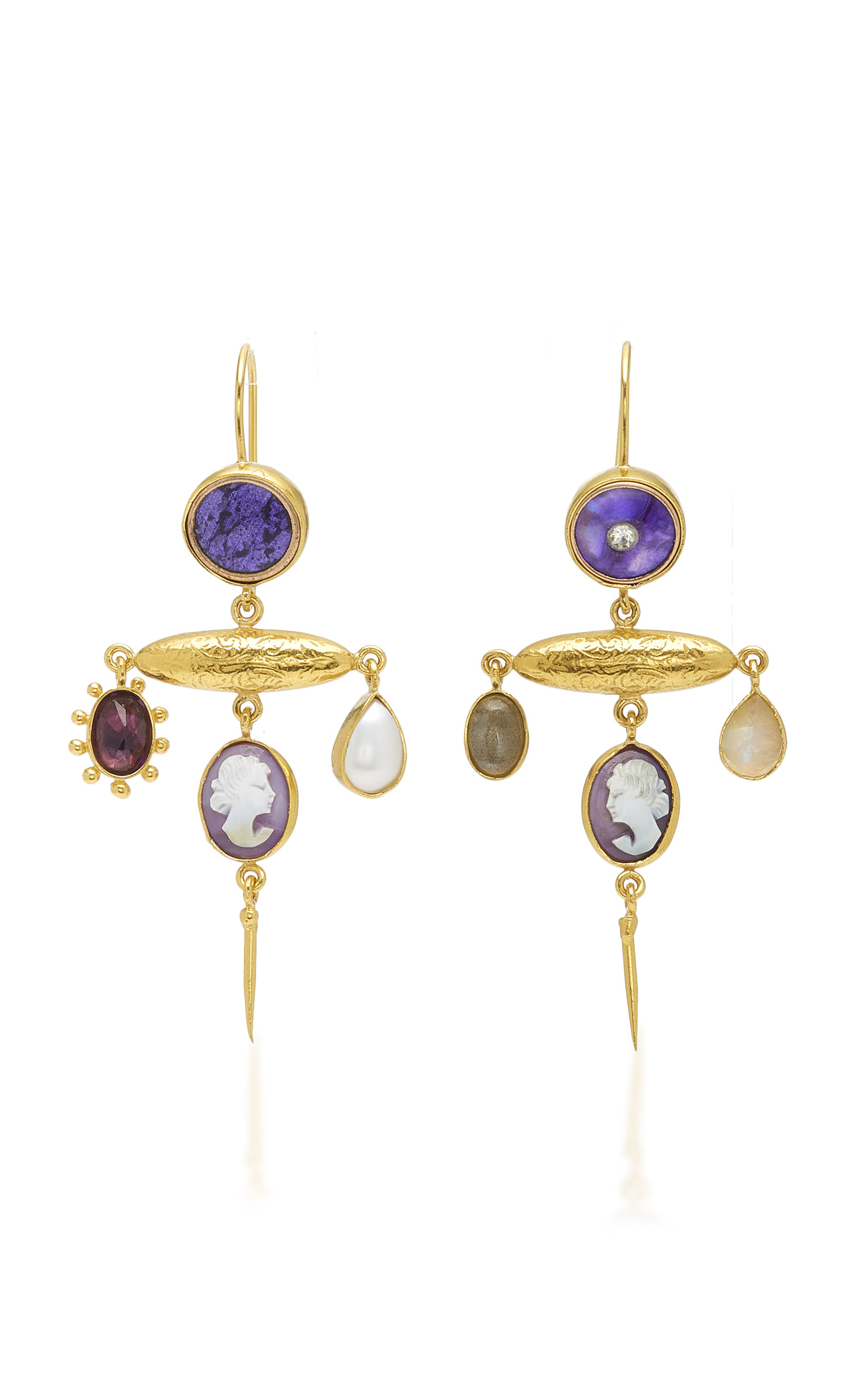 GRAINNE MORTON VICTORIAN AMETHYST PIN DROP EARRINGS