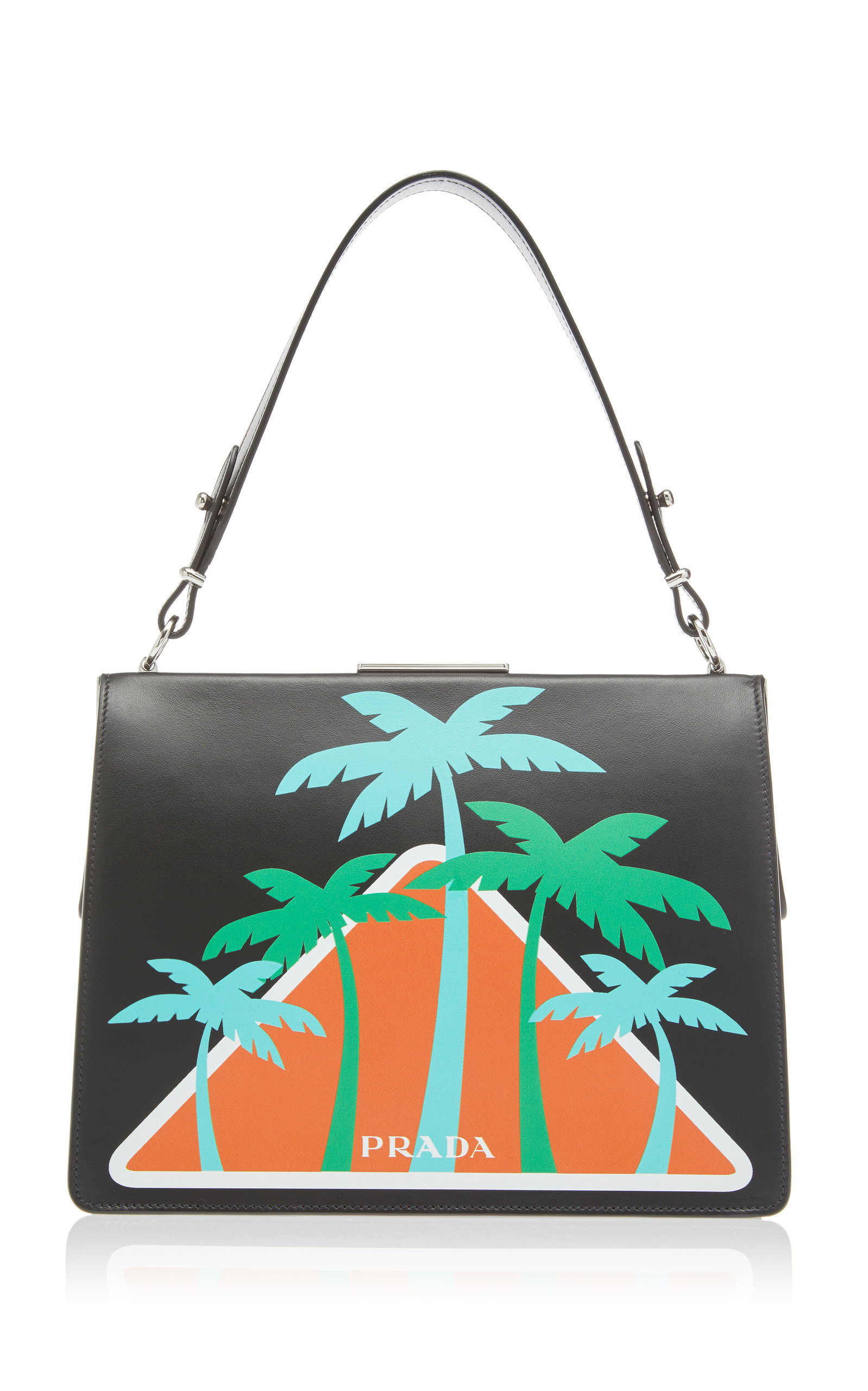 bf7942946a City Calf Top Handle with Palm Trees by Prada