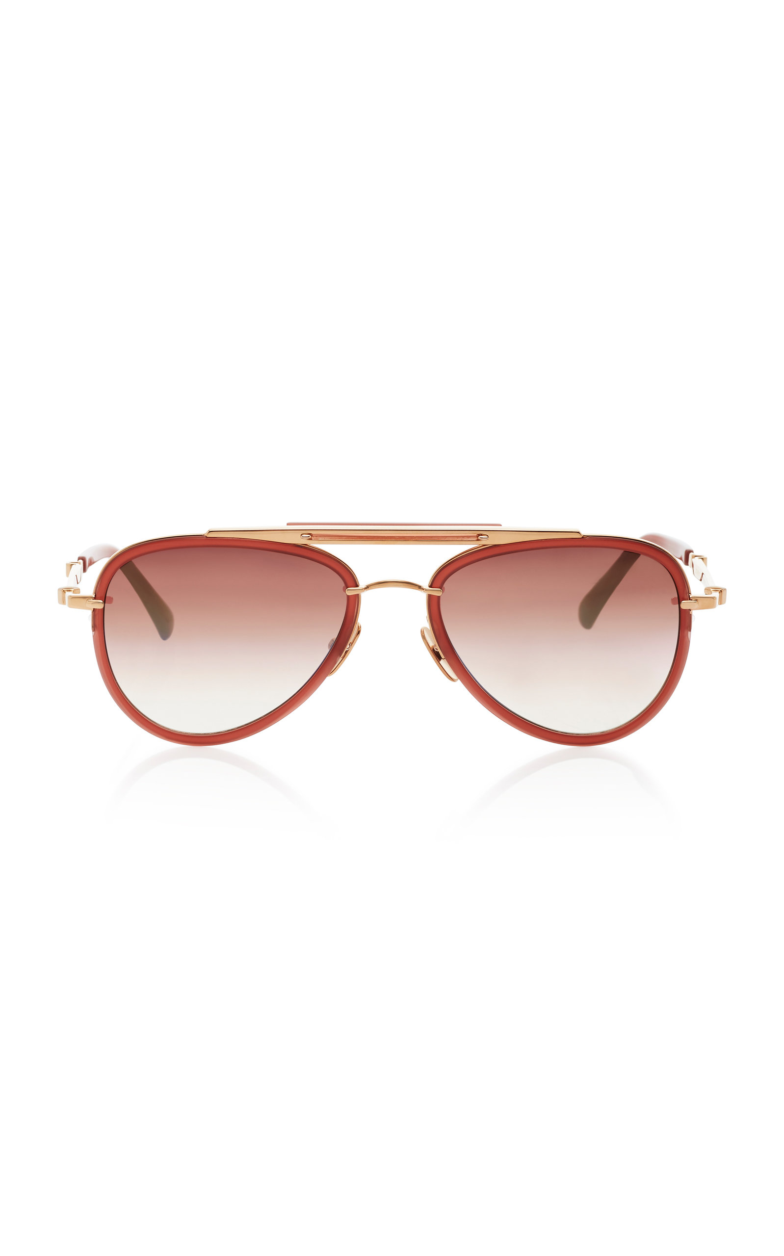 MR. LEIGHT Doheny Sl54 Aviator-Style Acetate And Metal Sunglasses in Brown