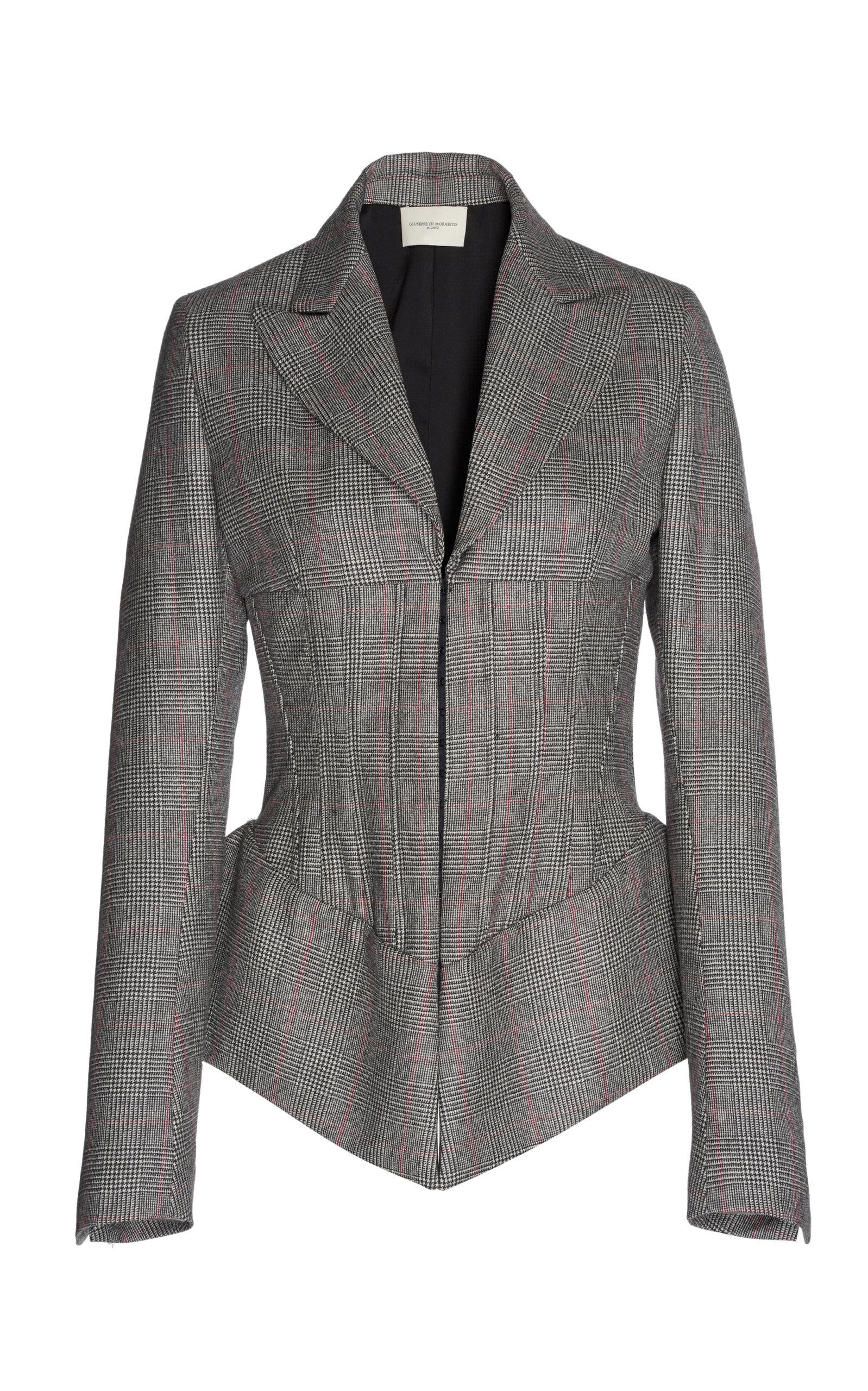 GIUSEPPE DI MORABITO Check Bustier Jacket in Grey