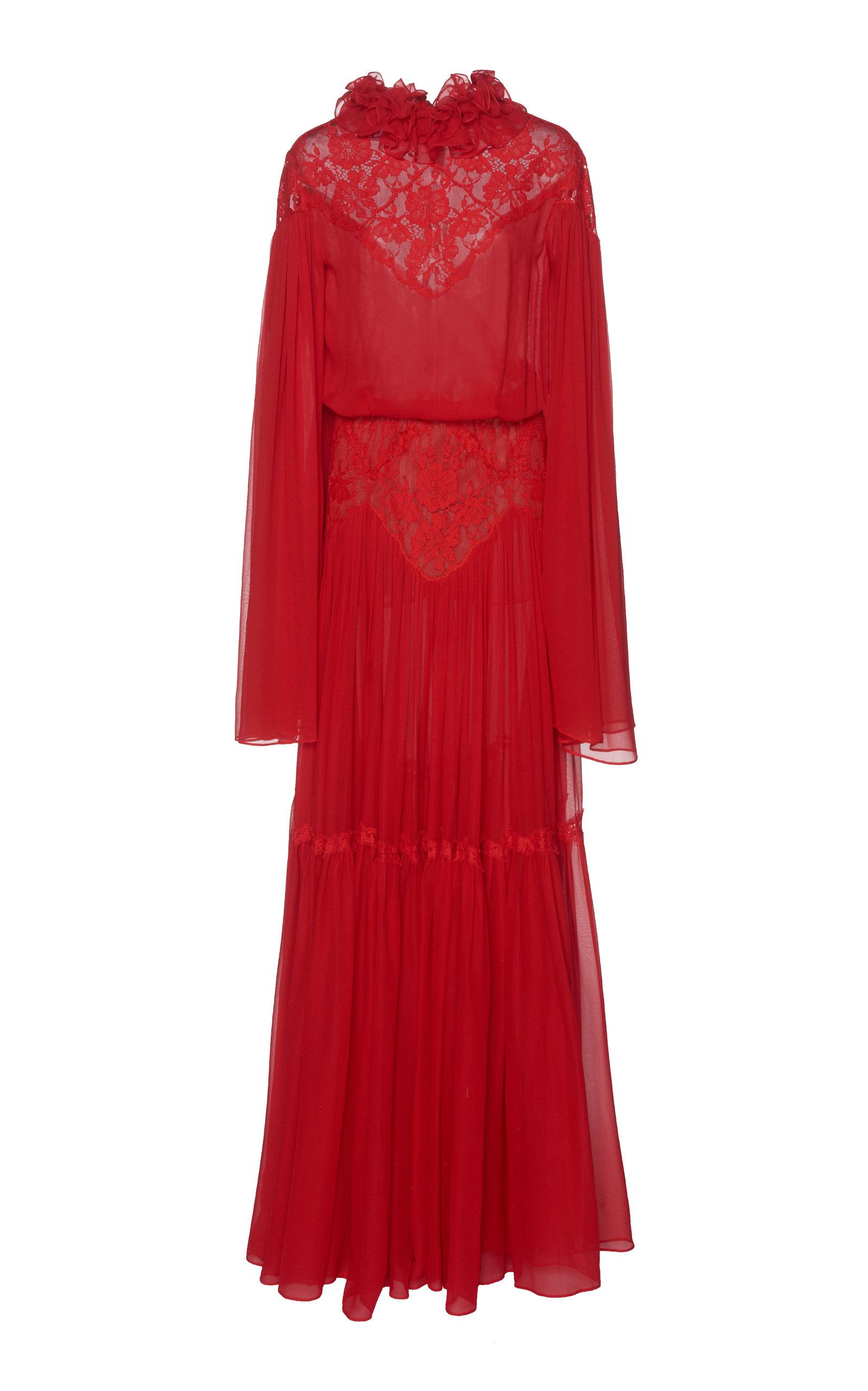 Costarellos ETHEREAL SILK CHIFFON DRESS