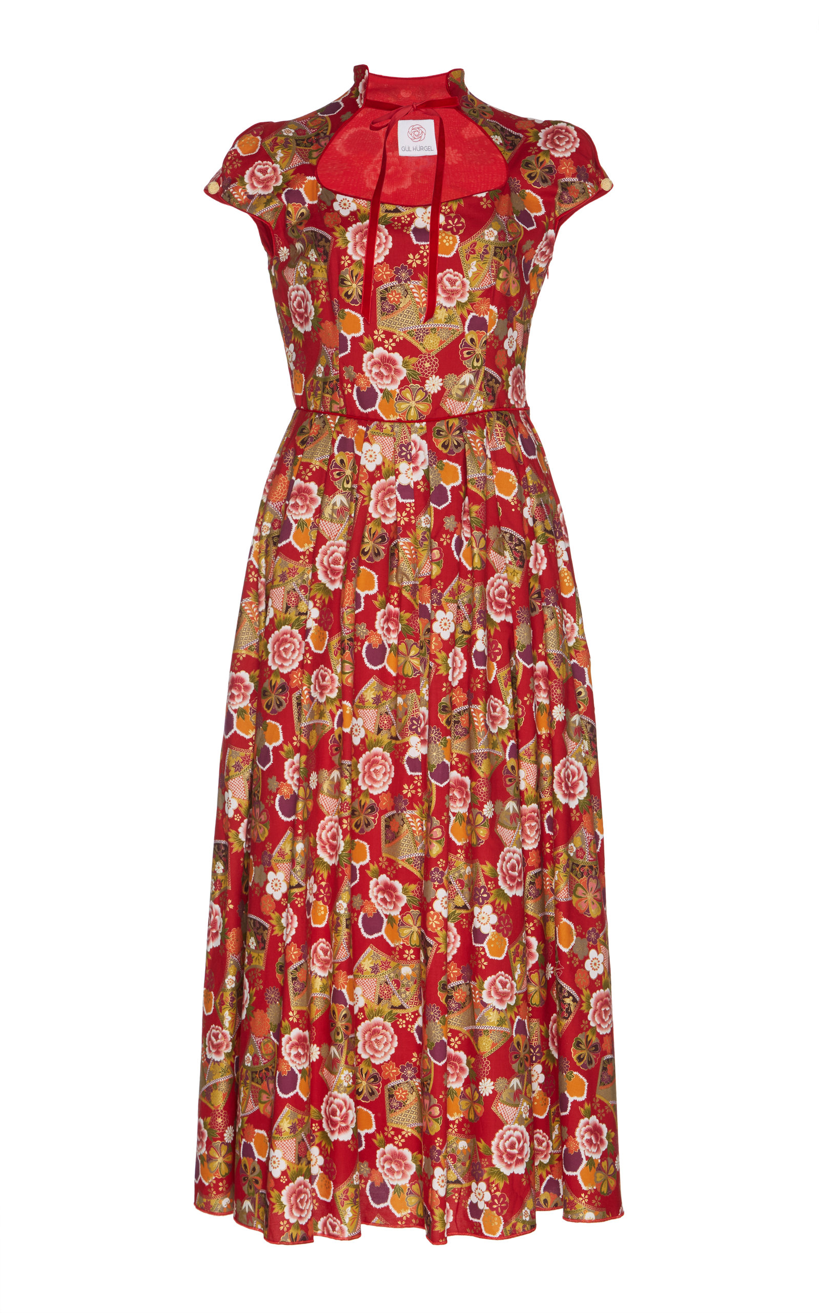 GÜL HÜRGEL Cap Sleeve Midi Dress in Print