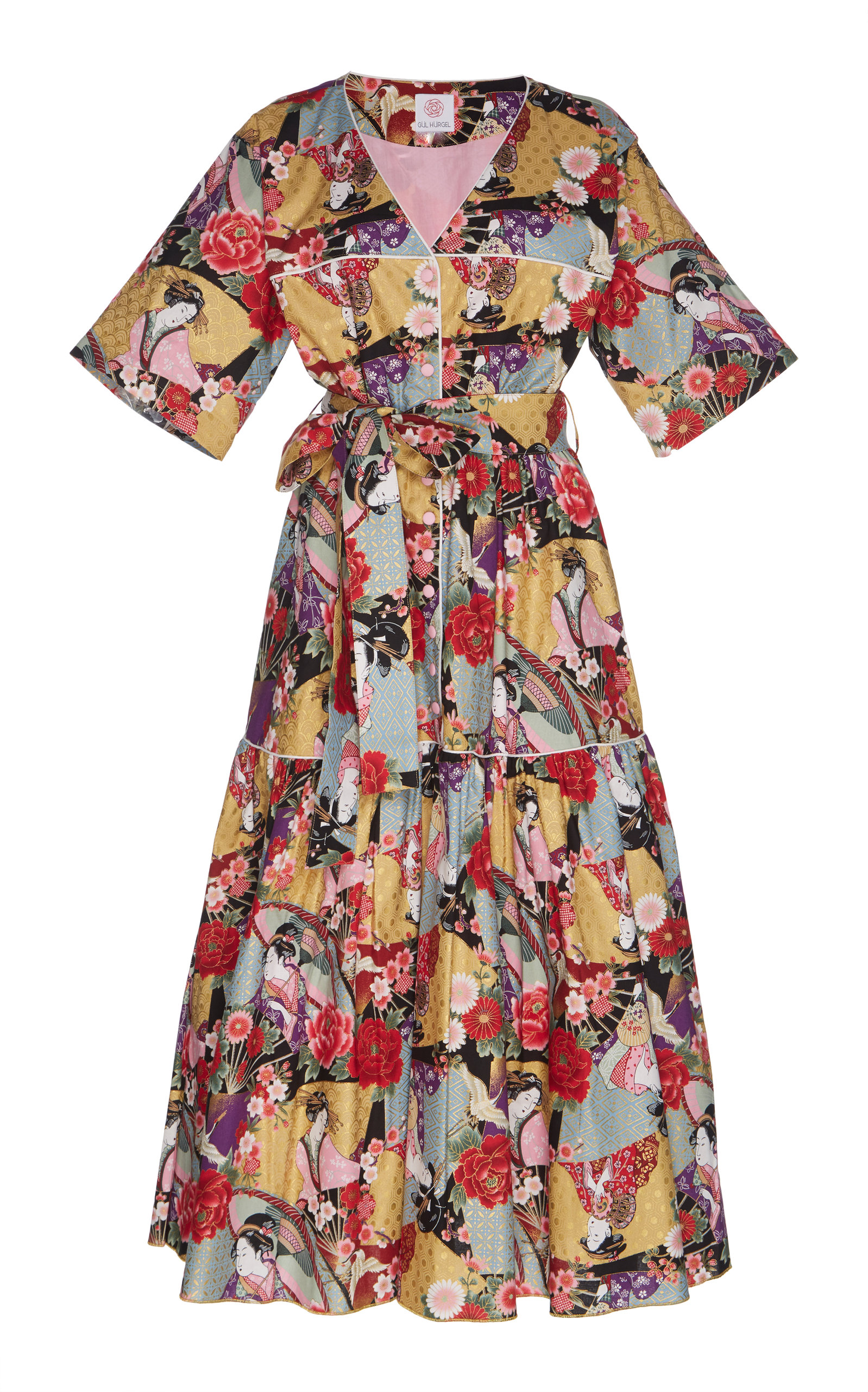 GÜL HÜRGEL Belted Midi Dress in Print