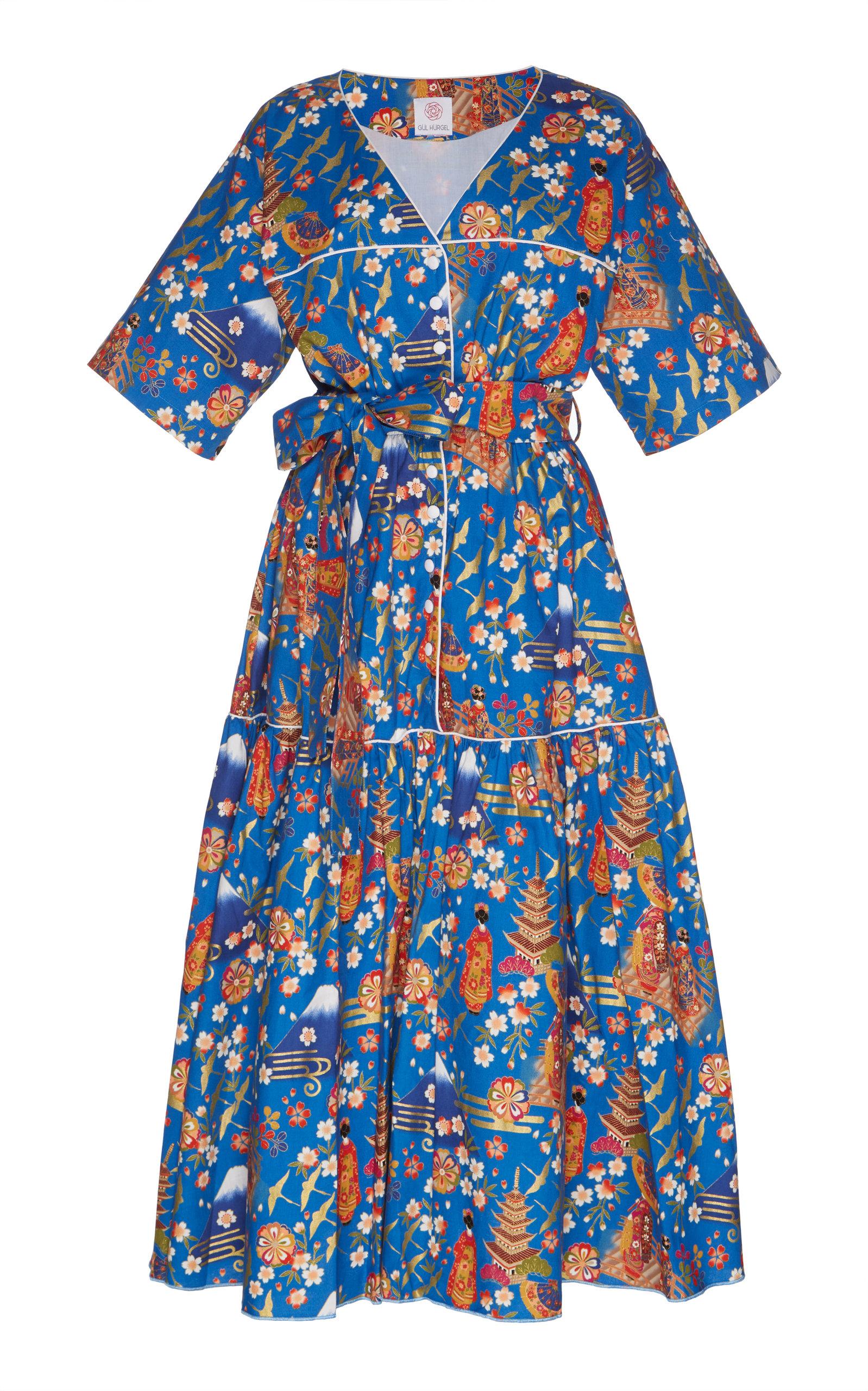 GÜL HÜRGEL Belted Midi Dress in Floral