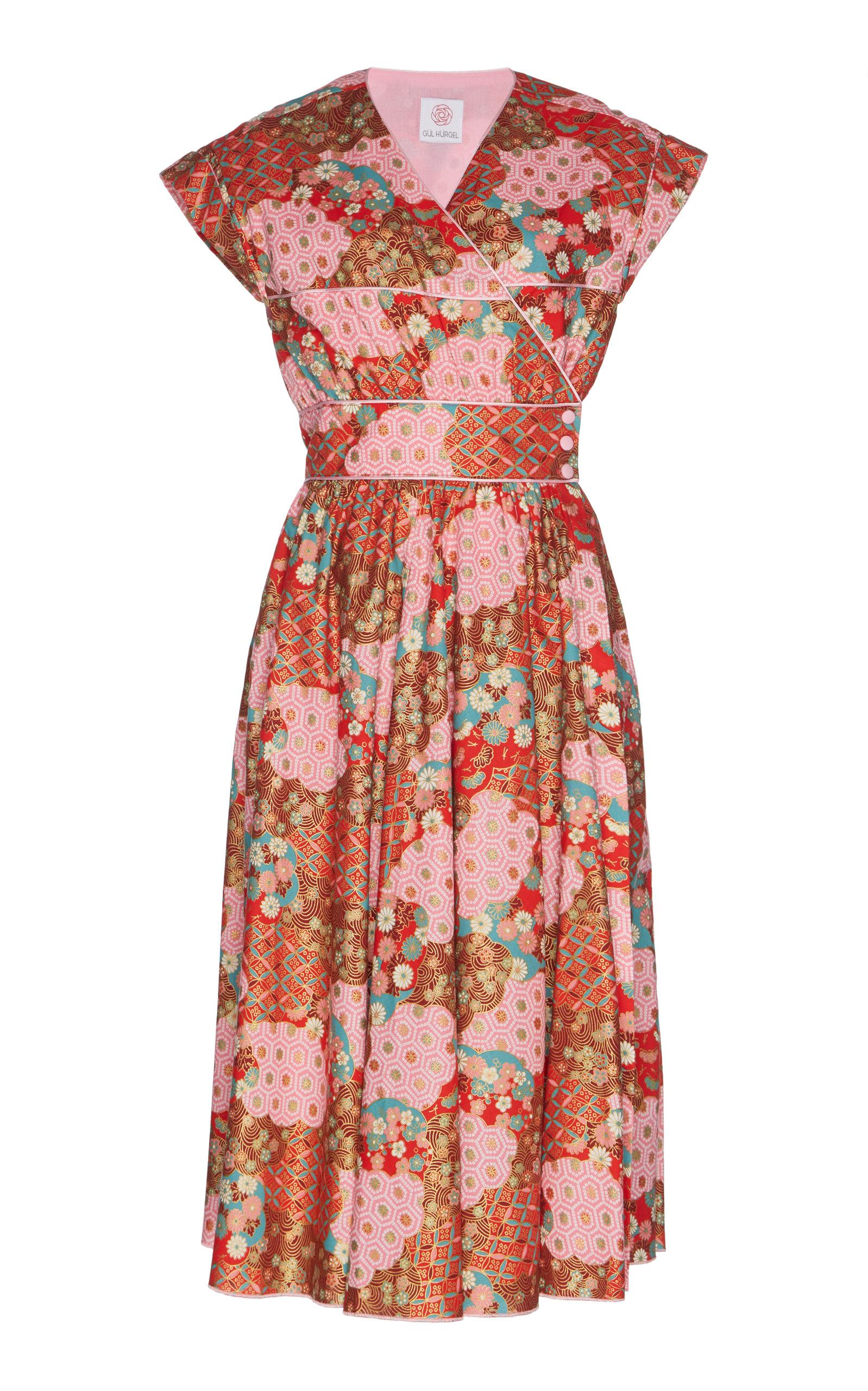 GÜL HÜRGEL Cap Sleeve Wrap Dress in Pink