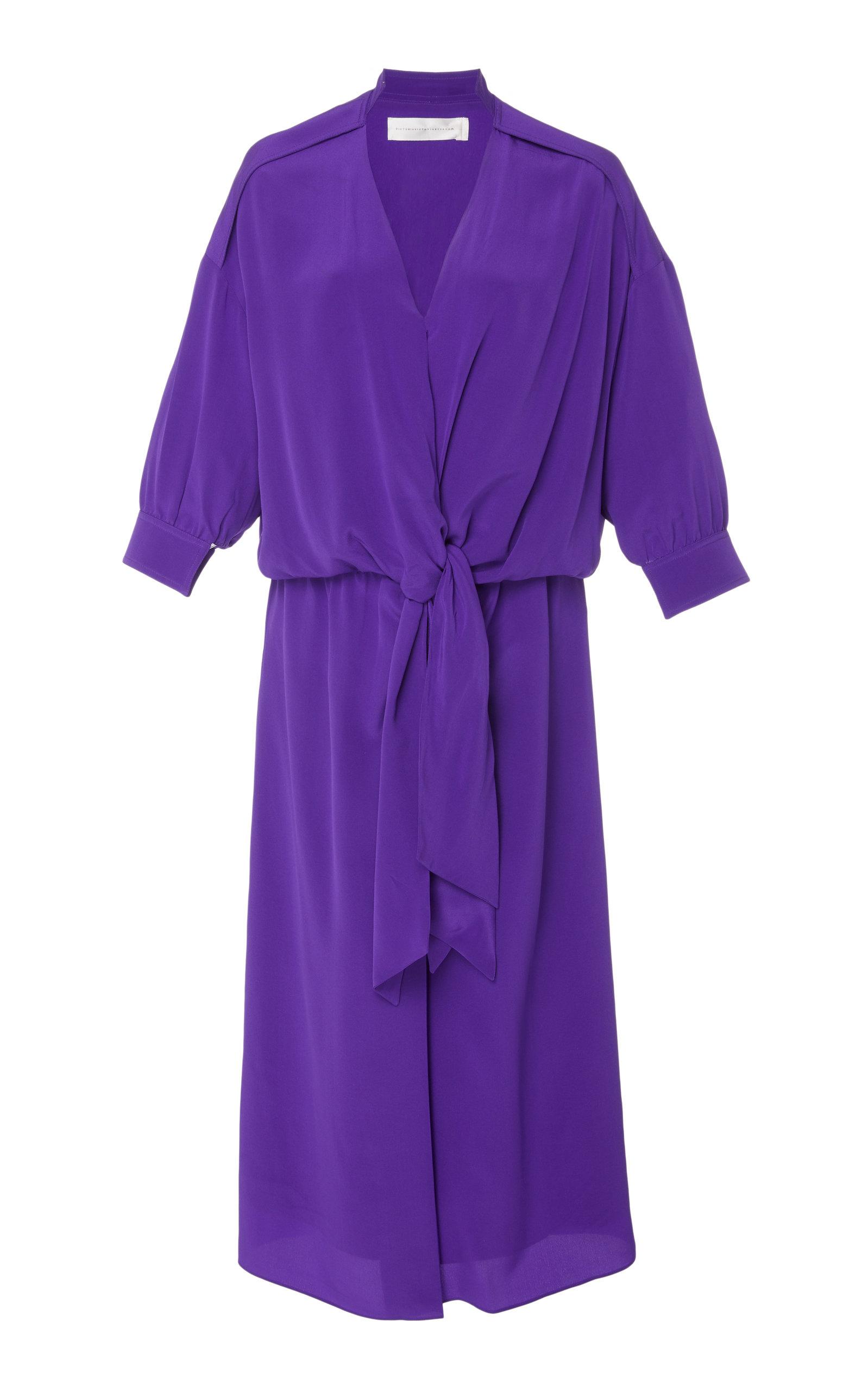 Victoria Victoria Beckham TIED WASHED-SILK SHIRT DRESS