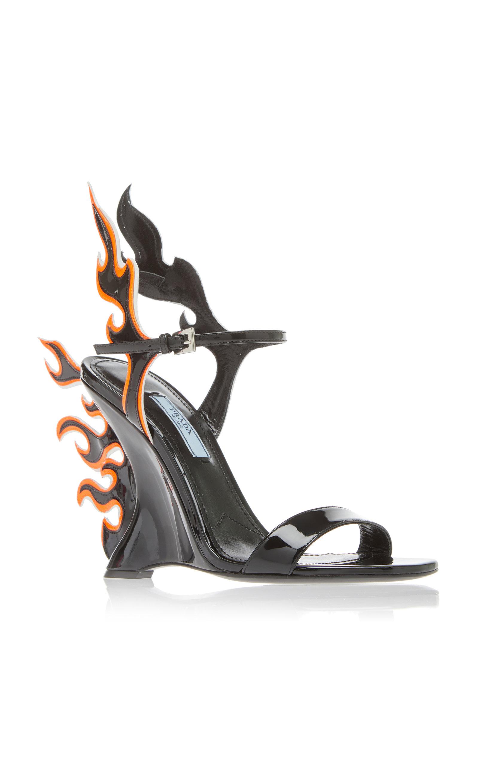 841f9d6f9065dc Flame Patent Leather Wedge Sandals by Prada   Moda Operandi