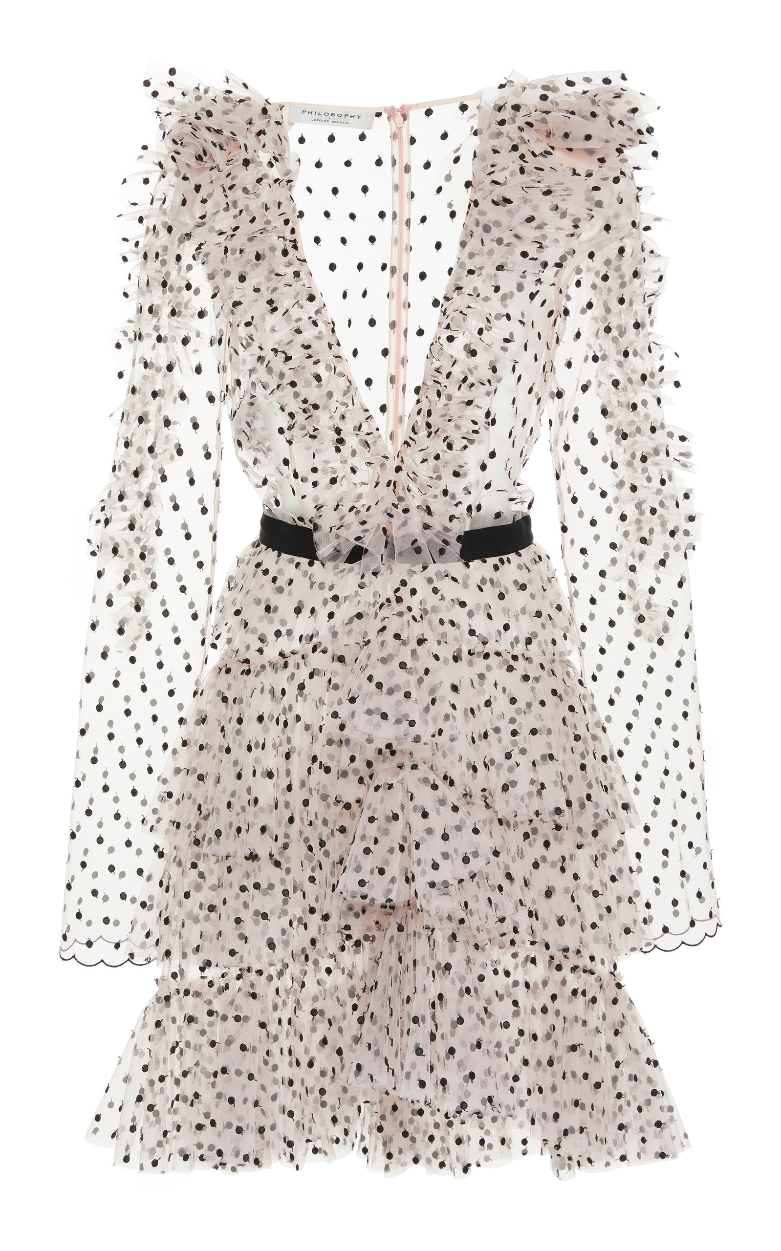 6b4fe6001e Philosophy di Lorenzo SerafiniPolka Dot Embroidered Ruffle Chiffon Dress