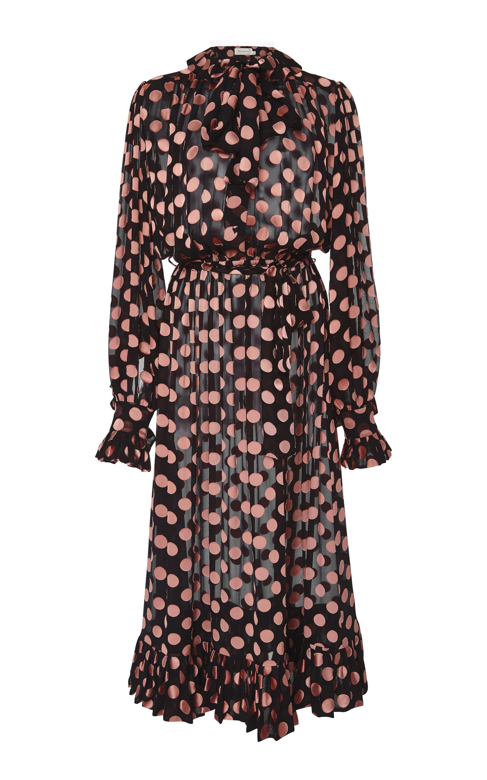 Polka-Dot Devoré Silk-Blend Chiffon Dress in Black