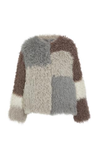 POLOGEORGIS   Pologeorgis The Finley Knitted Lamb Coat   Goxip