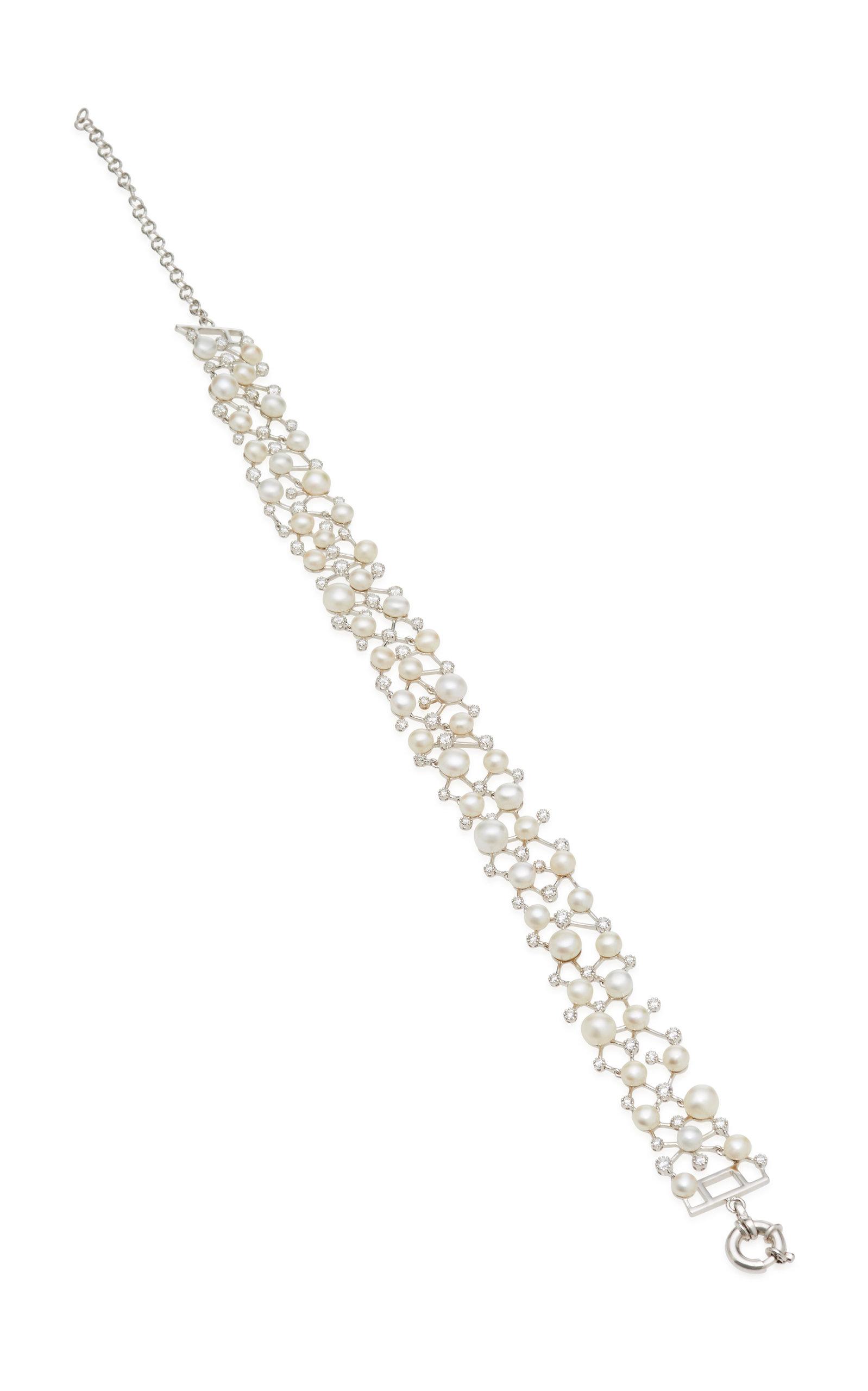 ANABELA CHAN CONSTELLATION 18K WHITE GOLD VERMEIL DIAMOND AND PEARL CHOKER