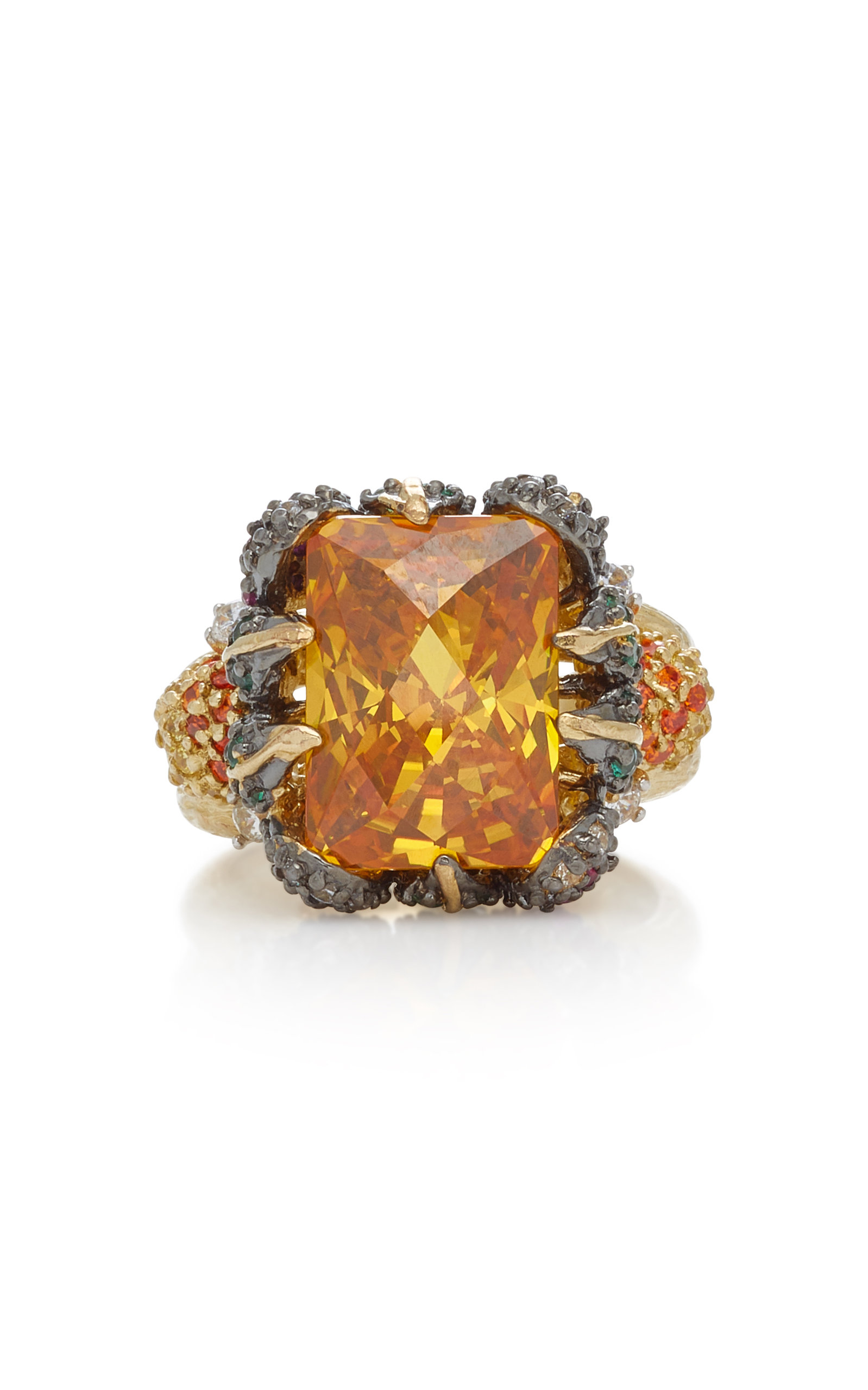 ANABELA CHAN Tangerine 18K Gold Vermeil Garnet And Diamond Ring in Yellow