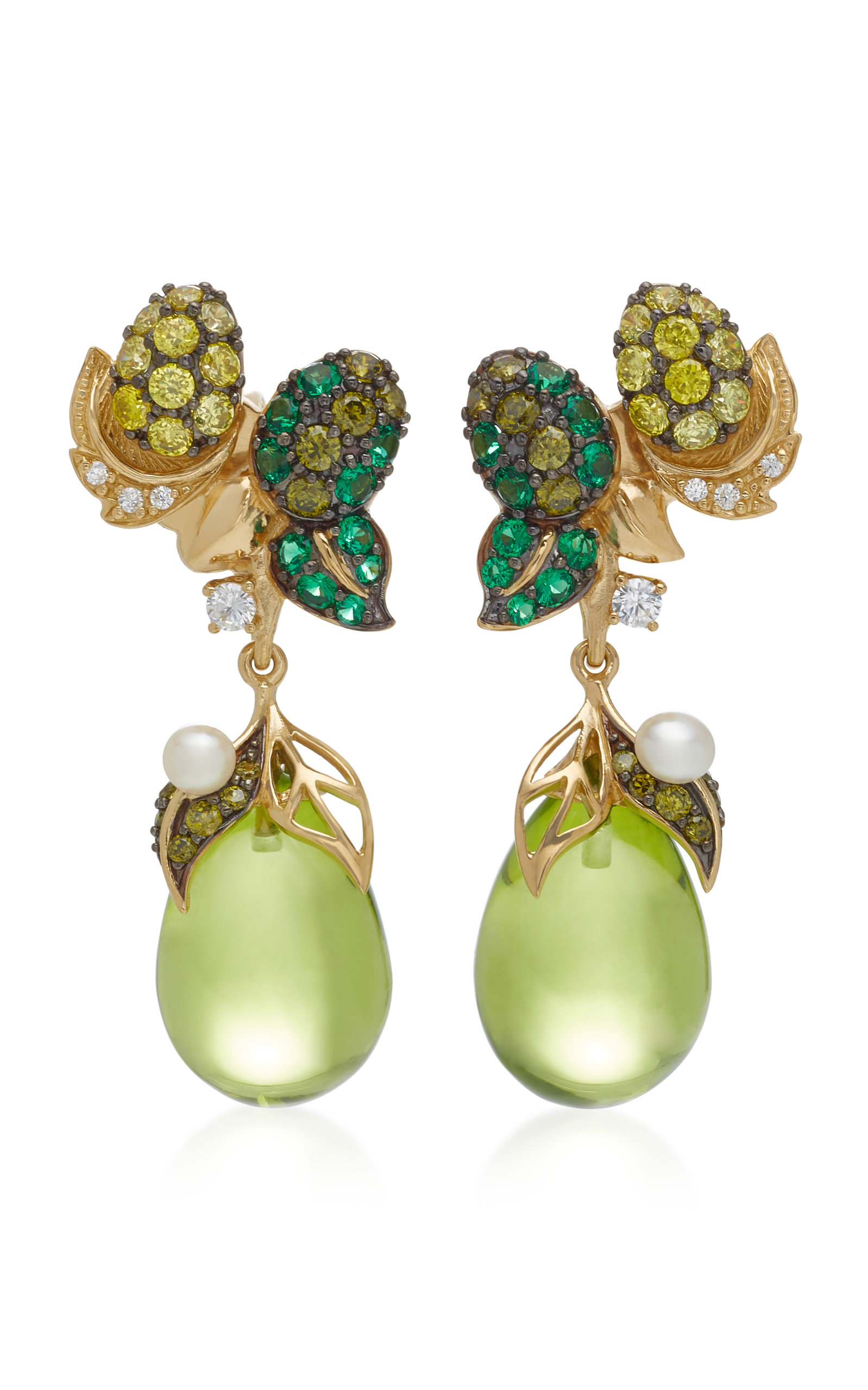 ANABELA CHAN Appleberry 18K Gold Vermeil Multi-Stone Earrings in Green