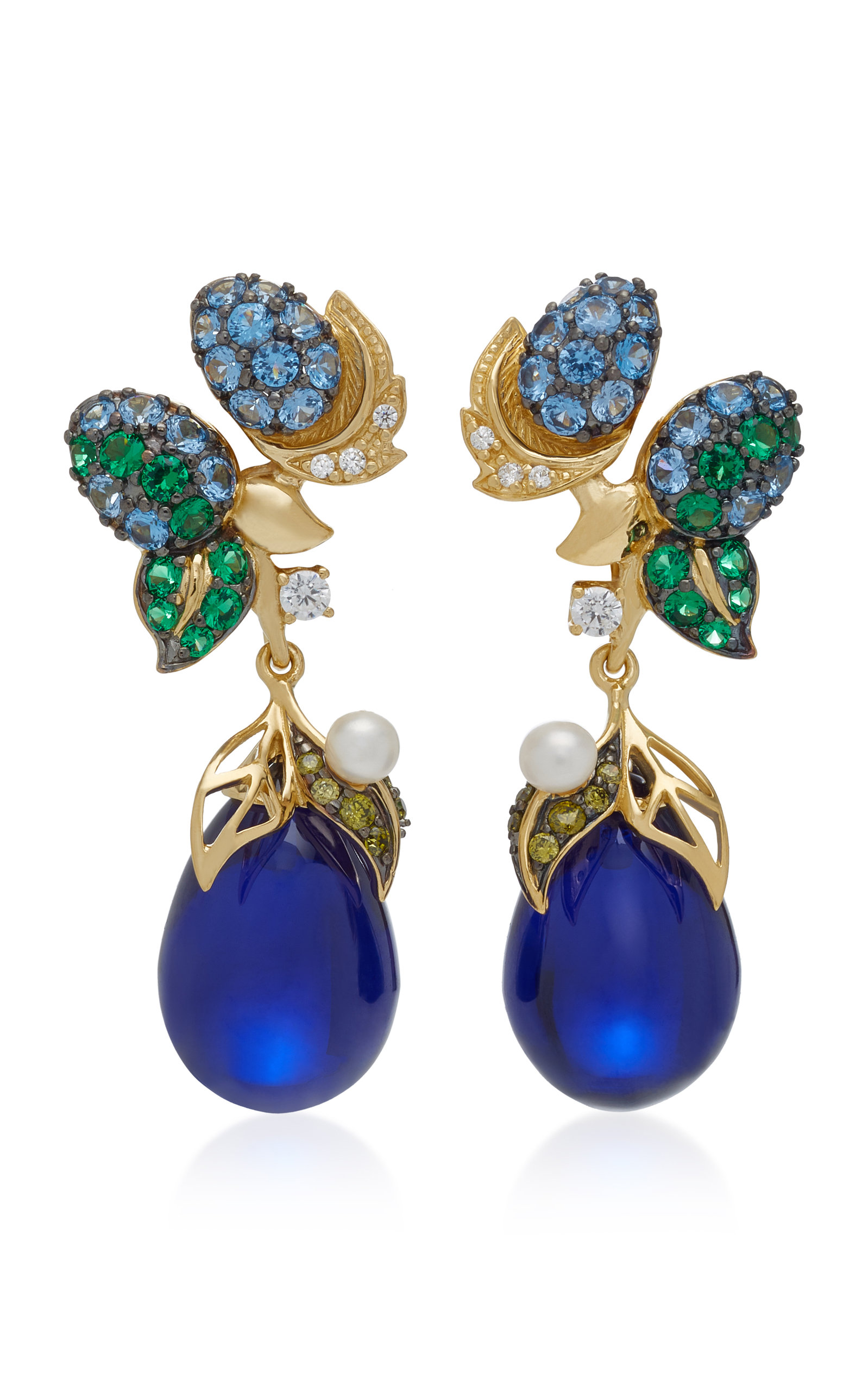 ANABELA CHAN Nightberry 18K Gold Vermeil Multi-Stone Earrings in Blue