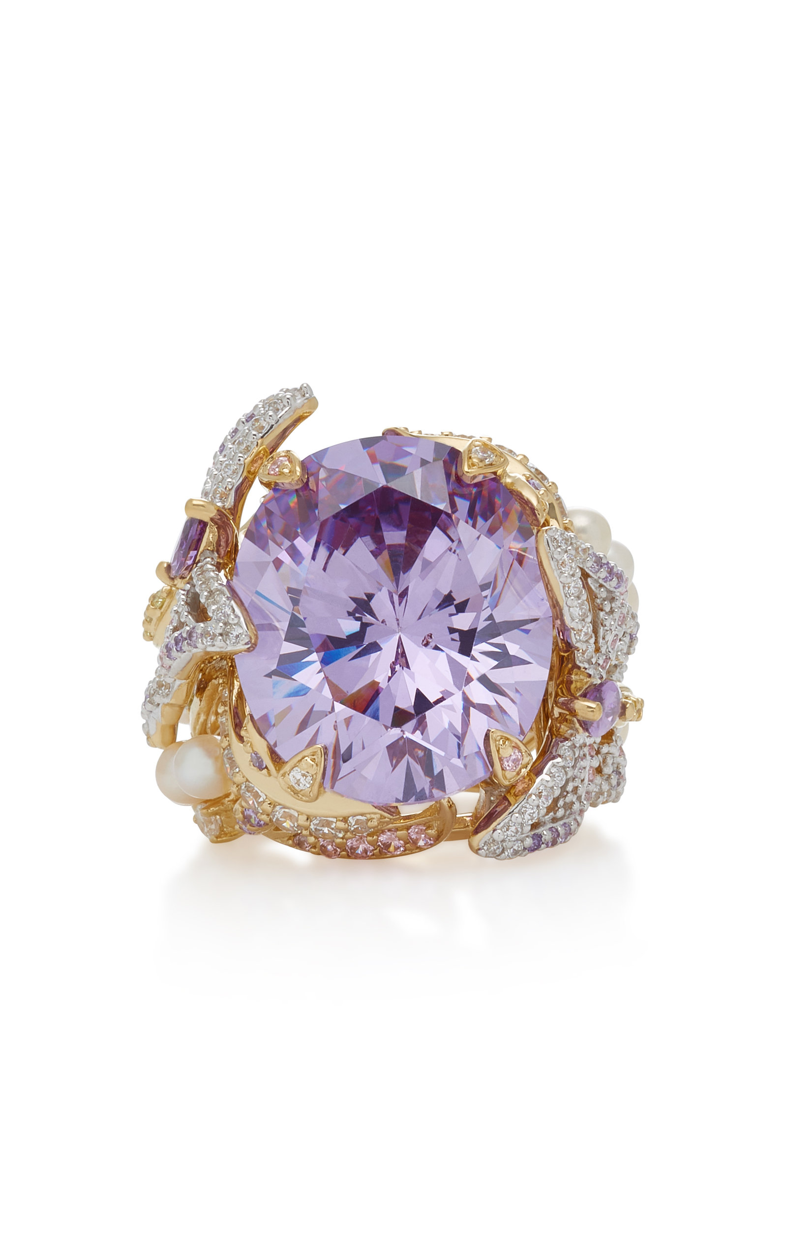 ANABELA CHAN Lilac Swallowtail 18K Gold Vermeil Multi-Stone Ring in Purple