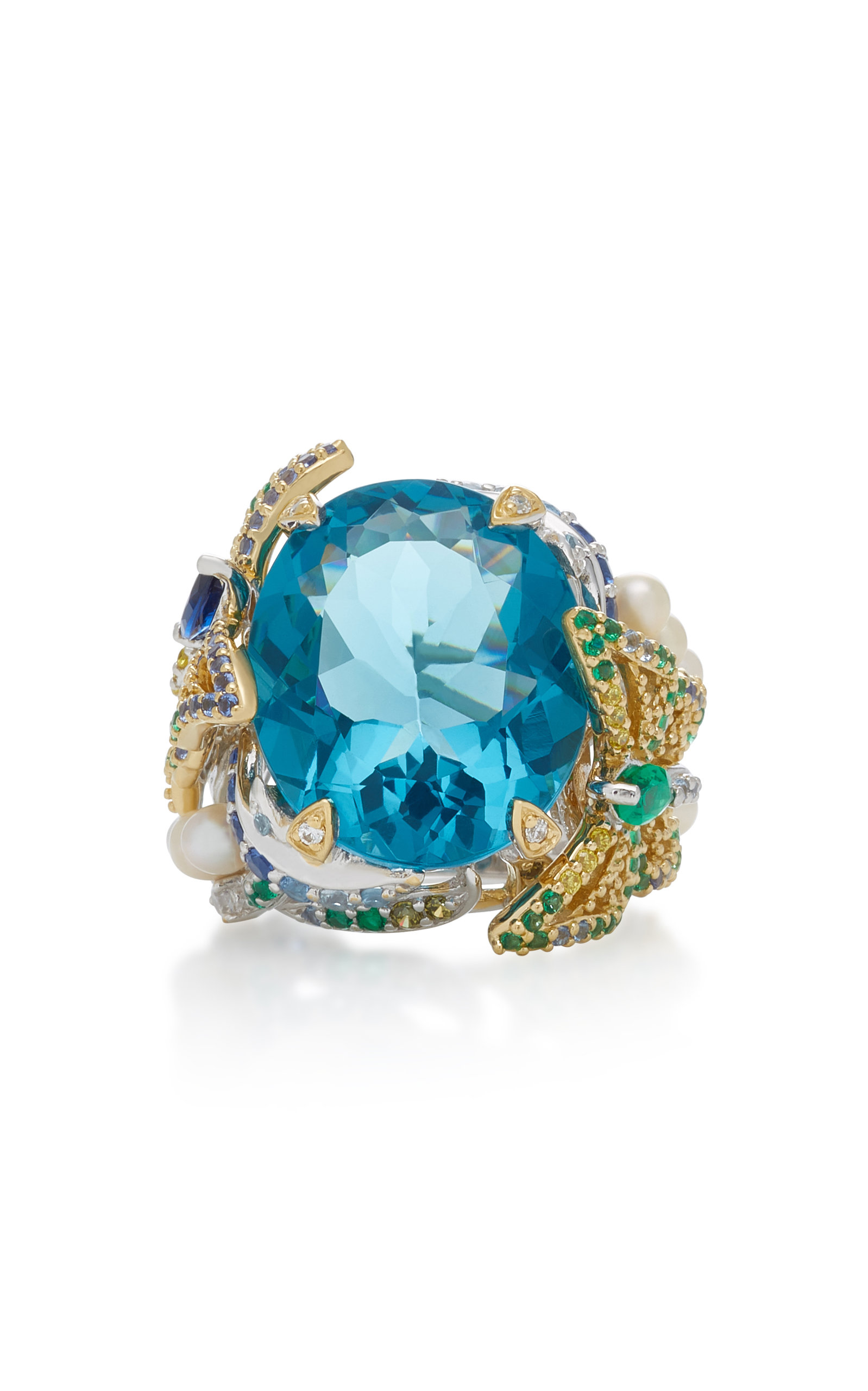ANABELA CHAN Aquamarine Lilac 18K Gold Vermeil Multi-Stone Ring in Blue
