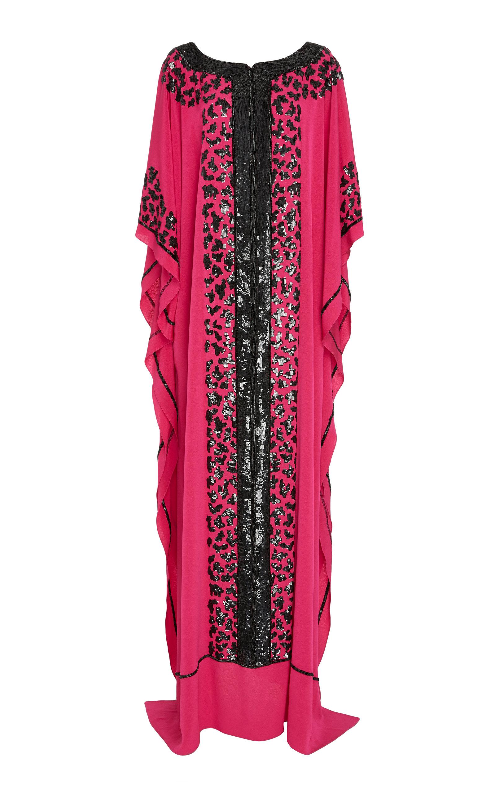 JOANNA MASTROIANNI Leopard-Print Embellished Silk Caftan in Pink