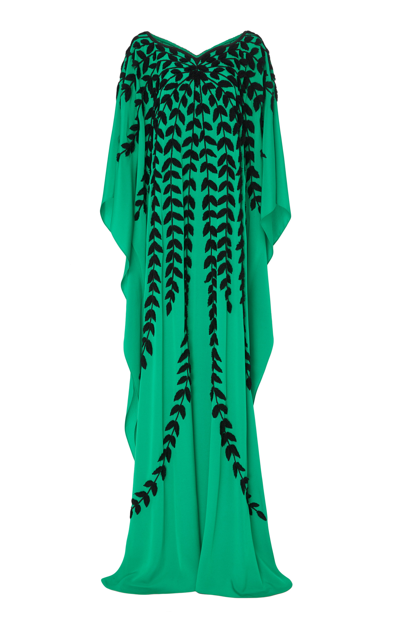 JOANNA MASTROIANNI Embellished Silk Caftan in Green