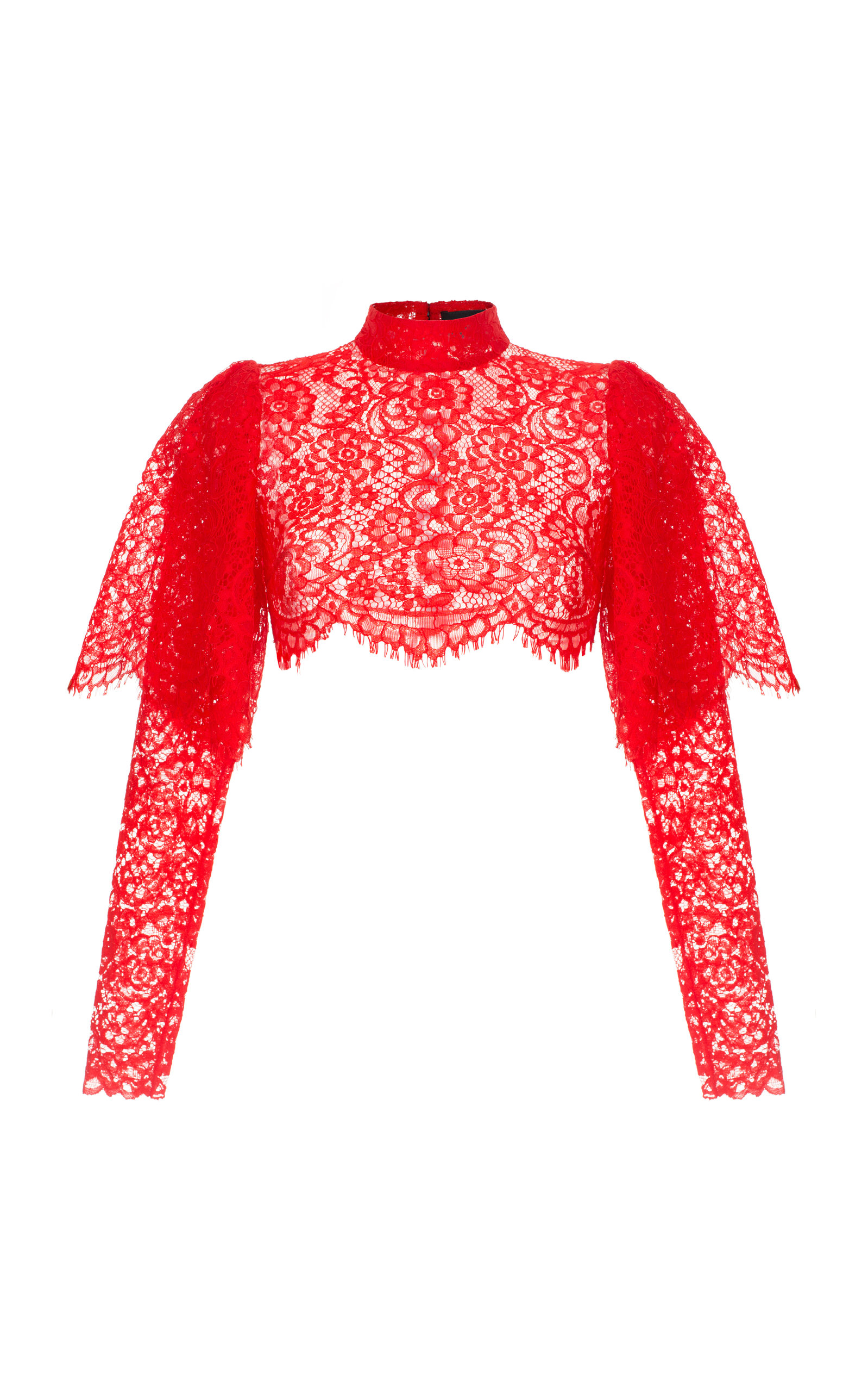 RASARIO Lace Cropped Top in Red