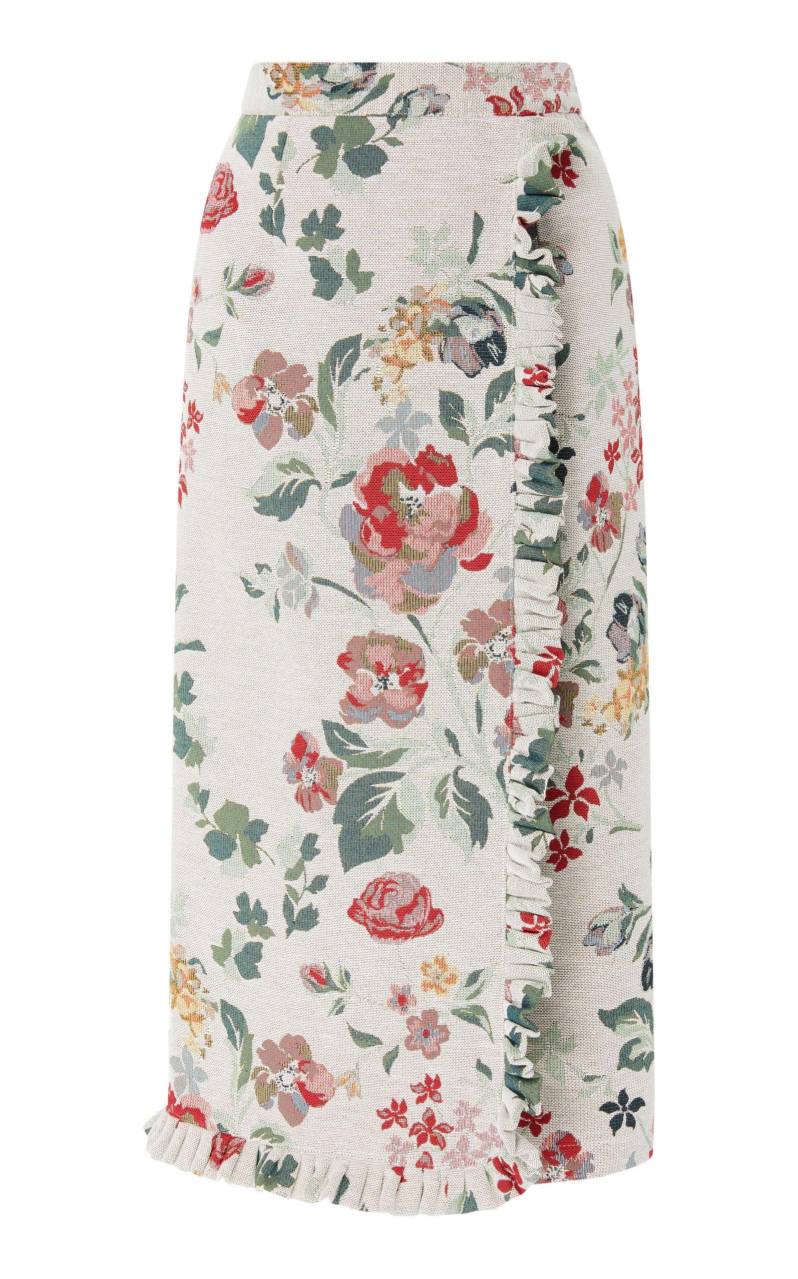 ALCOOLIQUE Rola Midi Skirt in Floral