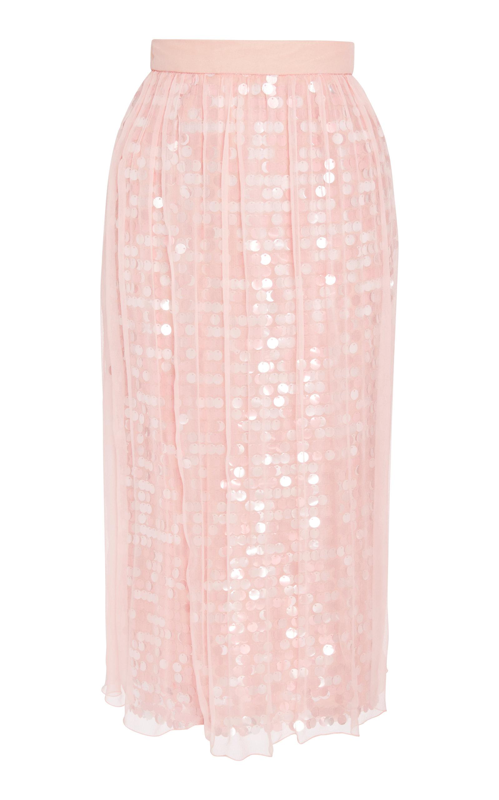 ALCOOLIQUE Area Sequin Skirt in Pink