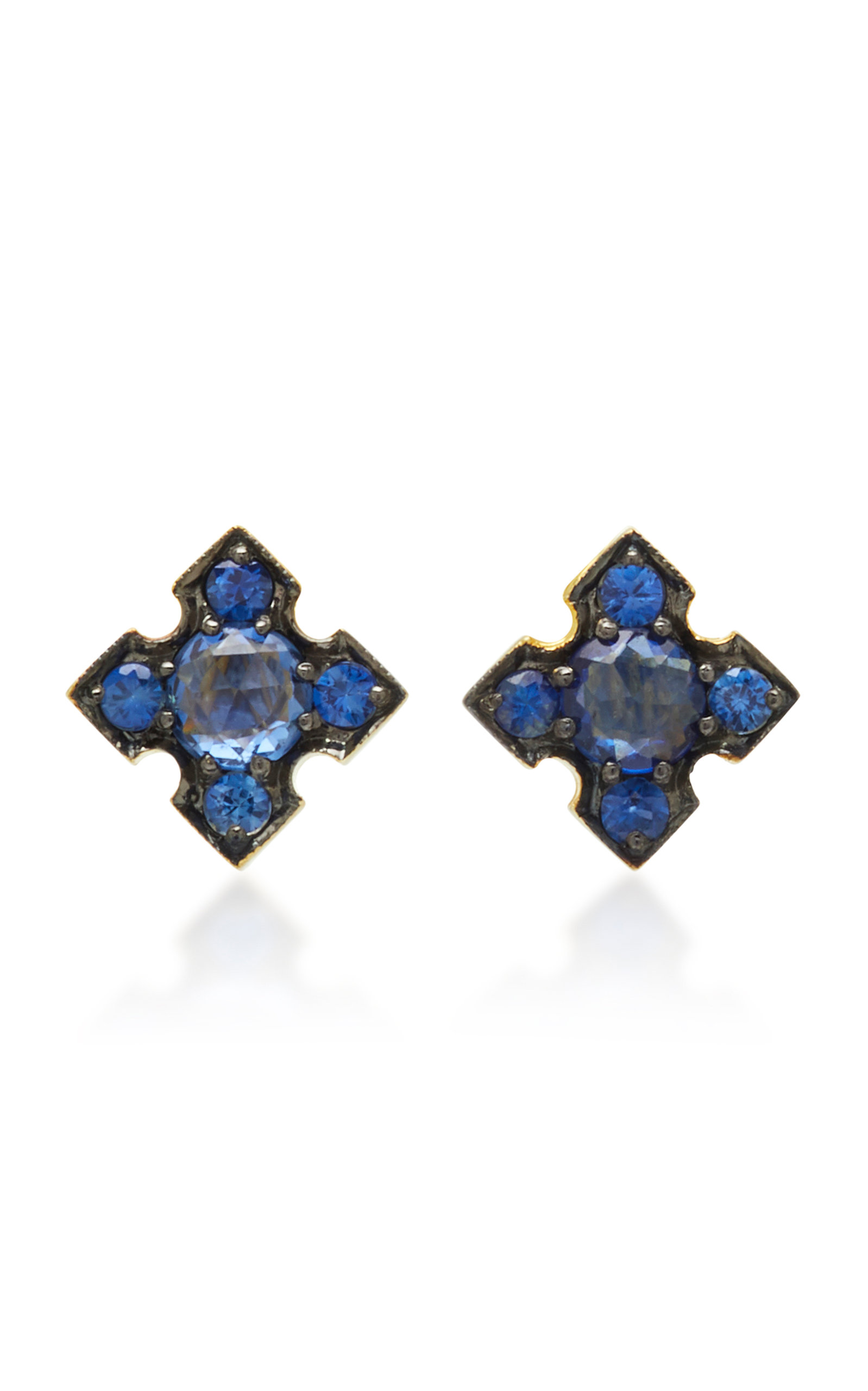 ILA IGAFE 14K GOLD BLUE SAPPHIRE STUD EARRINGS