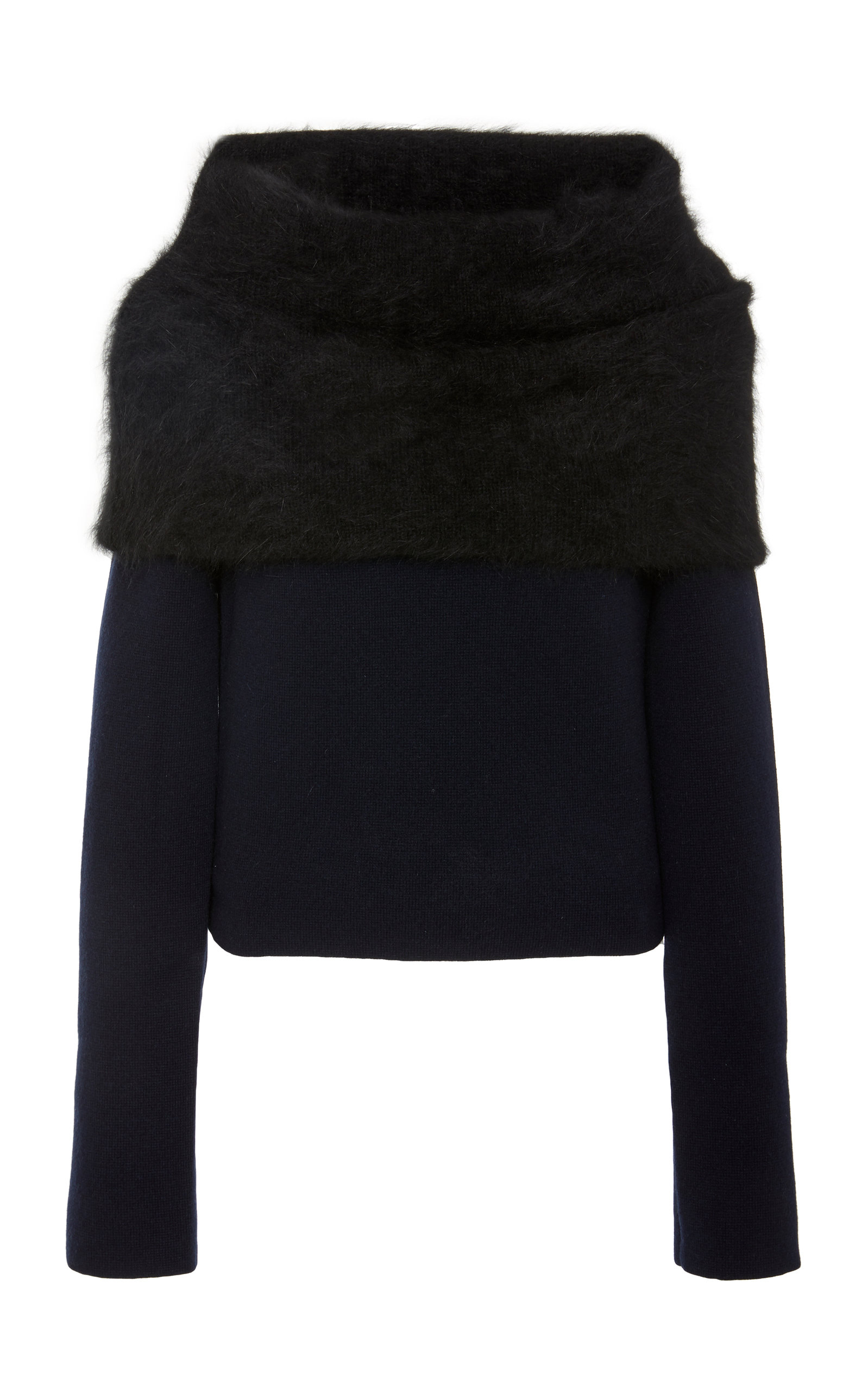 YEON M'O Exclusive Ileana Angora-Trimmed Wool And Cashmere Blend Sweater in Black