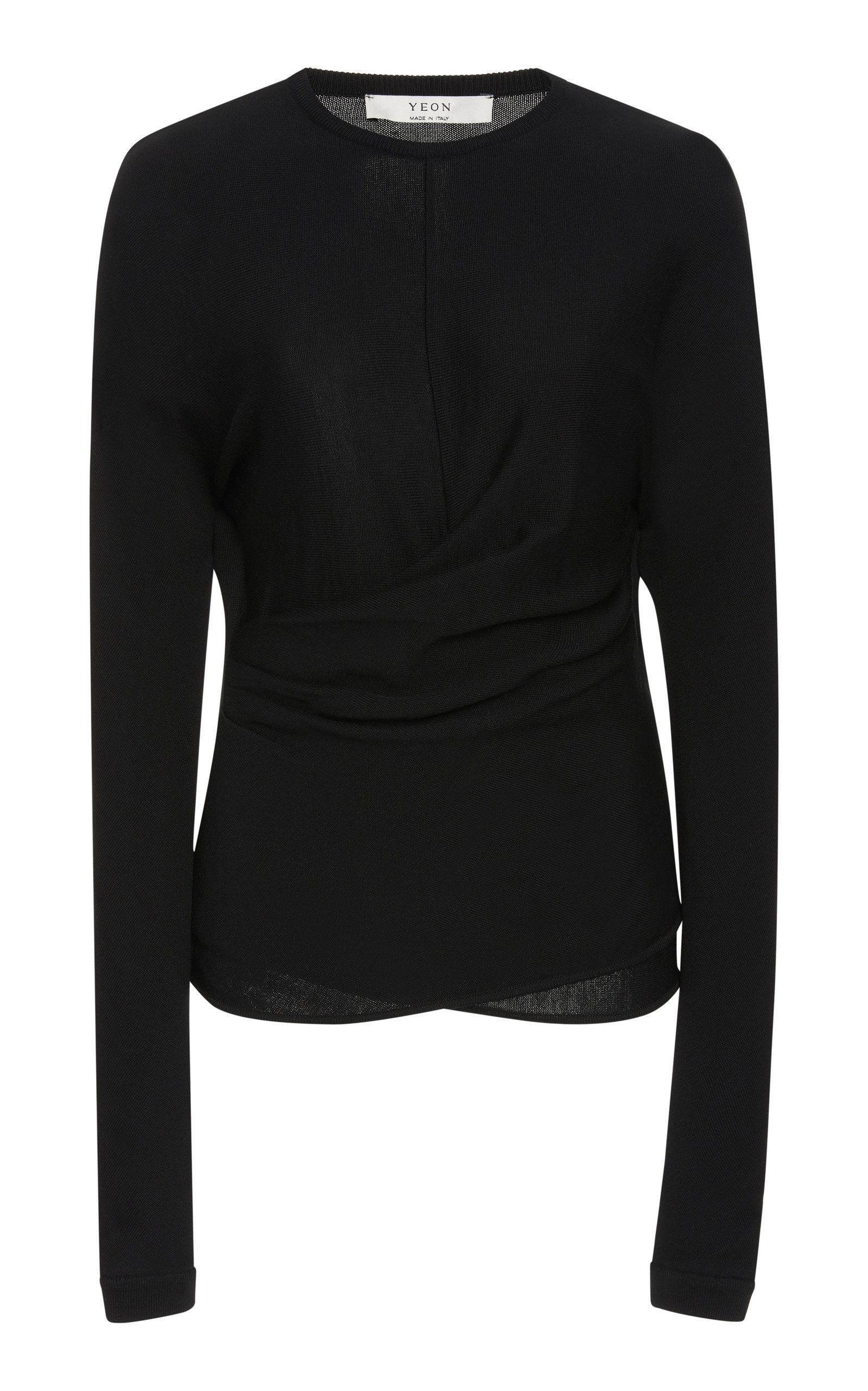 YEON Atlanta Draped Jersey Top in Black