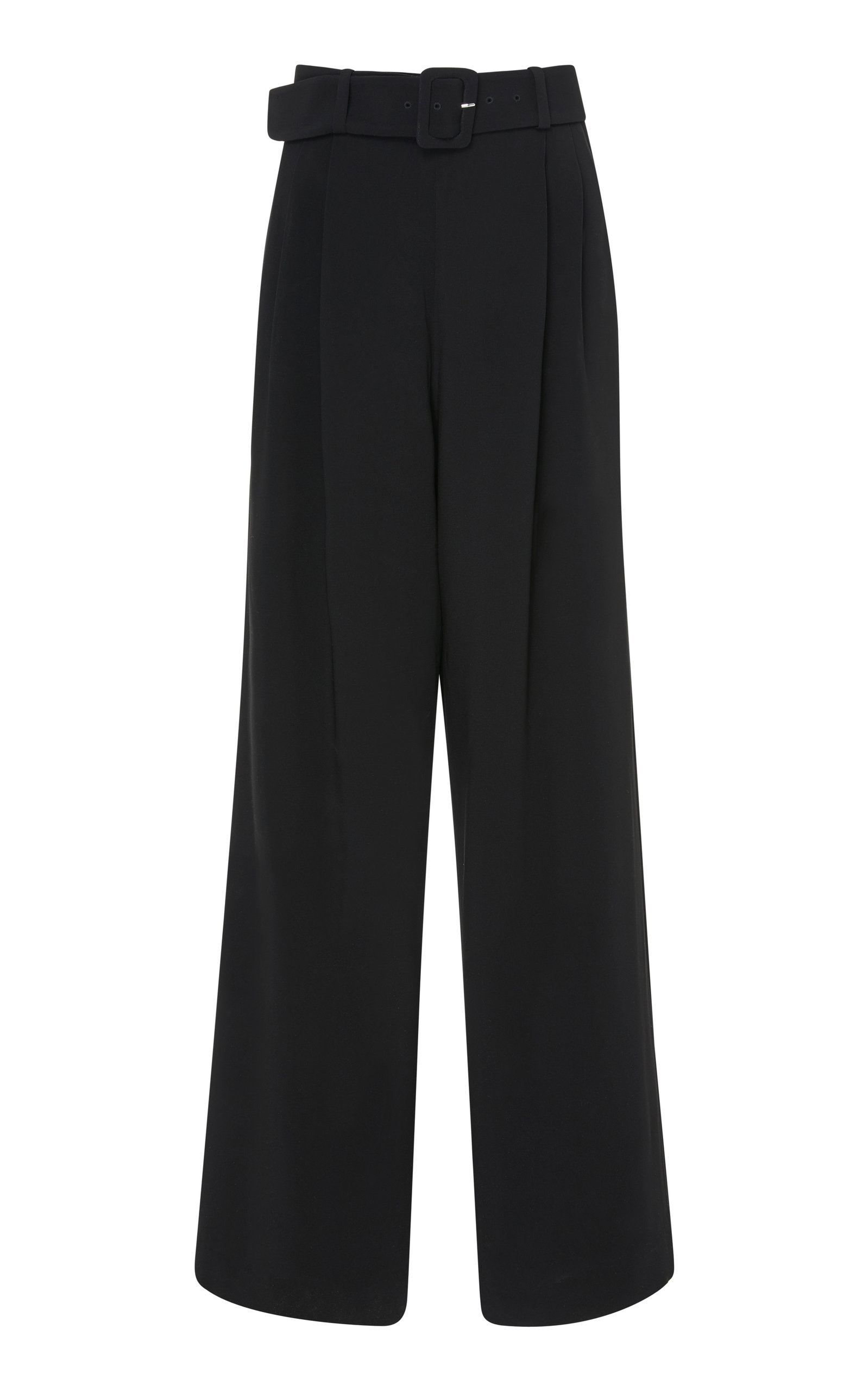 BOUGUESSA Wide Leg Crepe Pants in Black