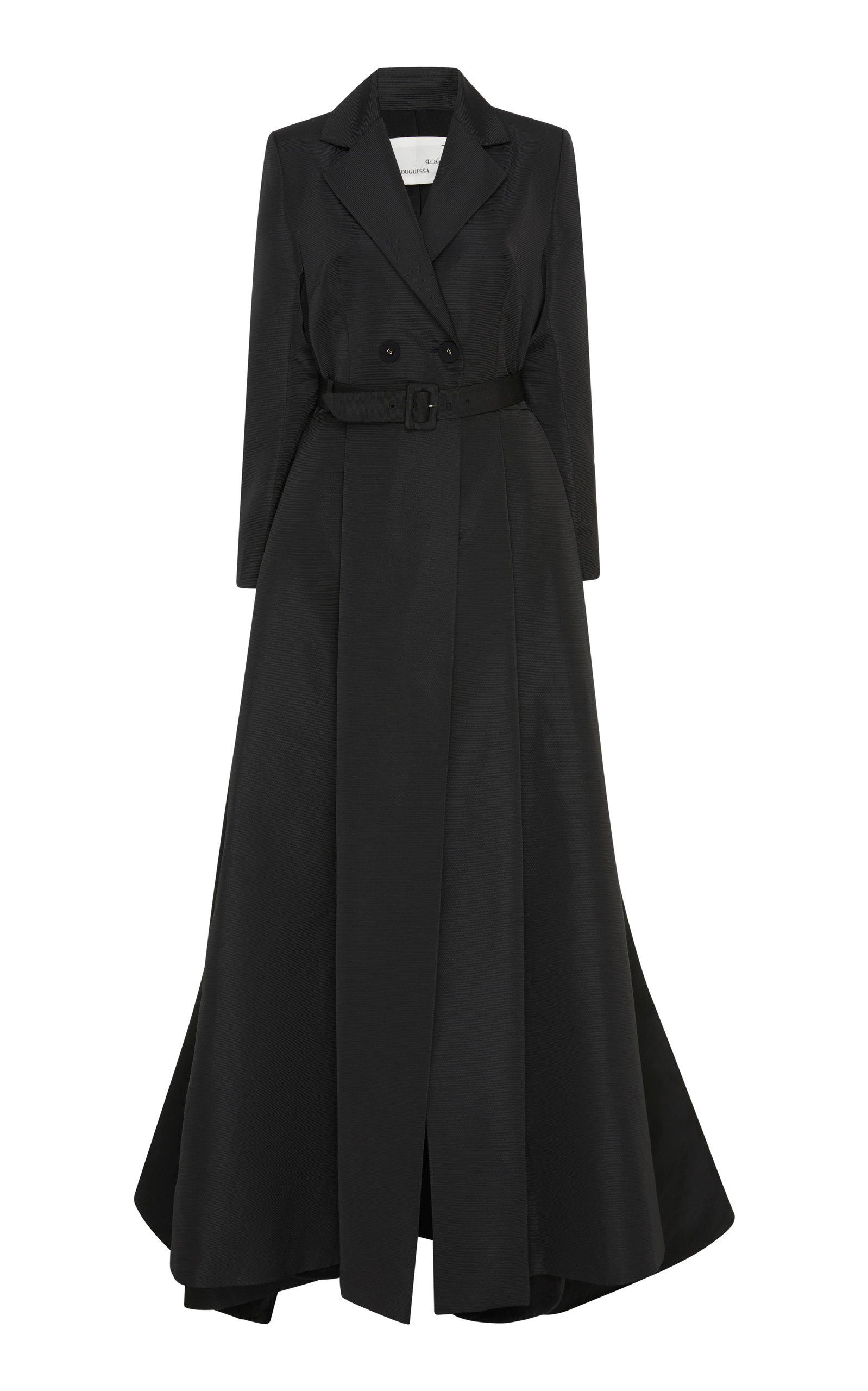 BOUGUESSA Belted Taffeta Coat Gown in Black