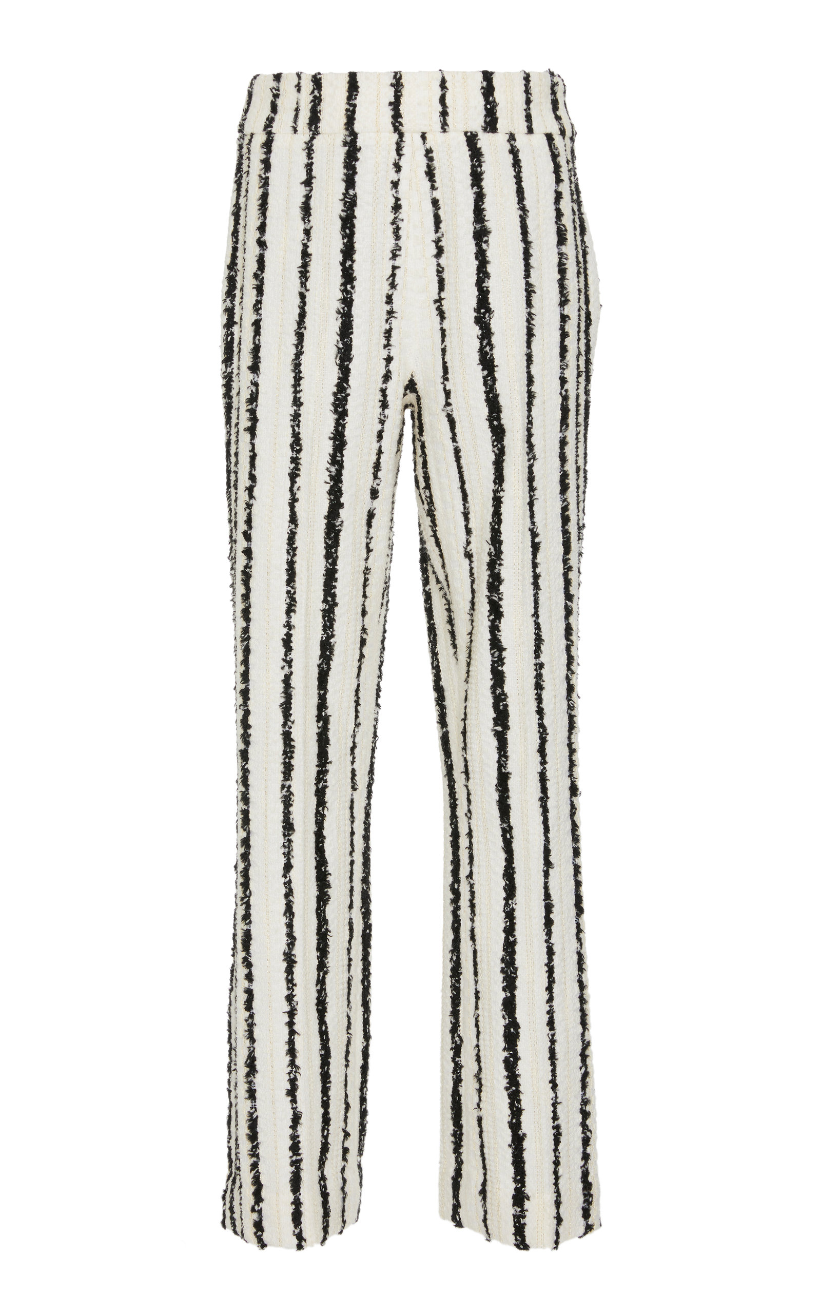 BOUGUESSA Striped Tweed Pants in Black/White