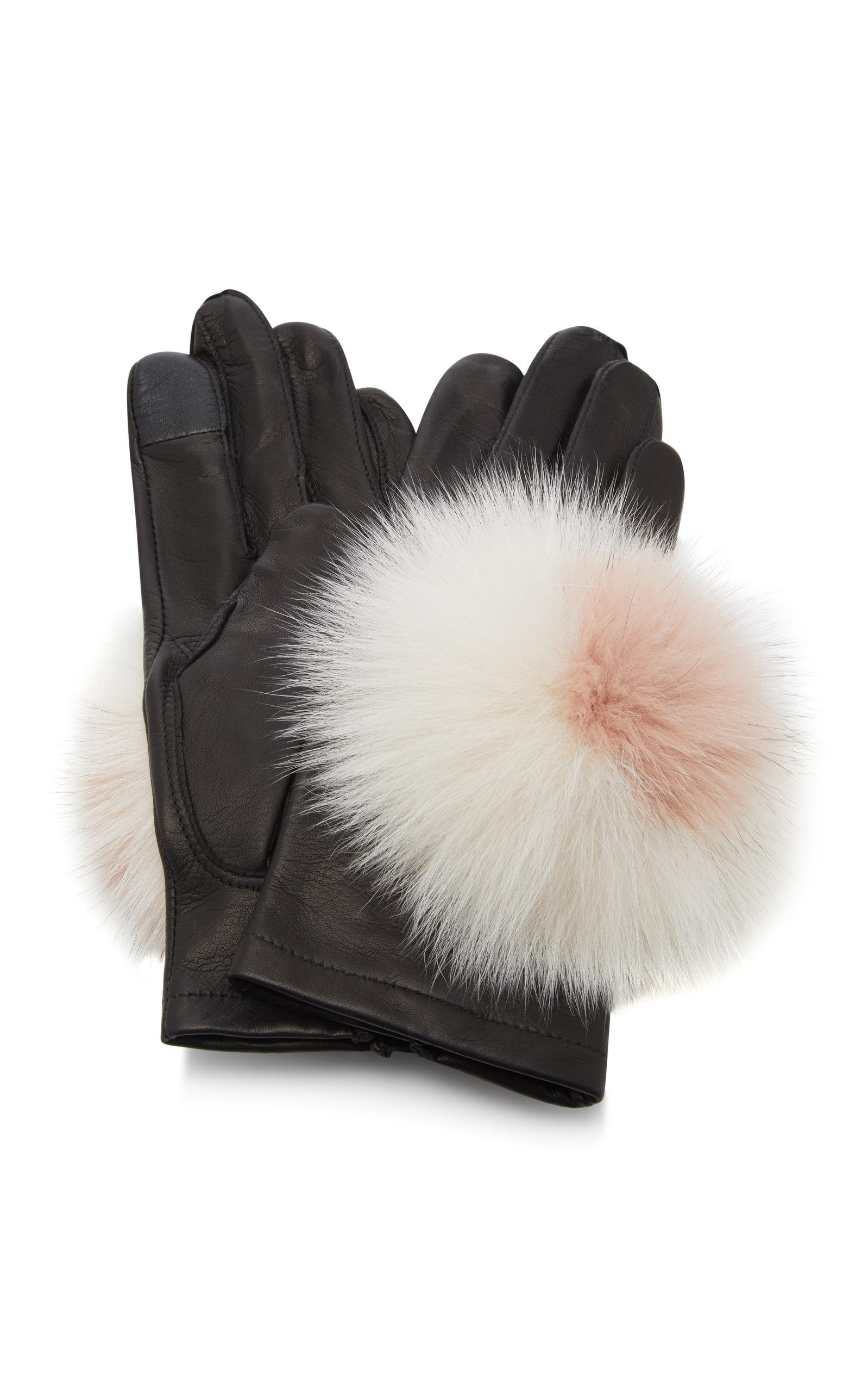 MAISON FABRE Pom Pom-Embellished Leather Gloves in Black