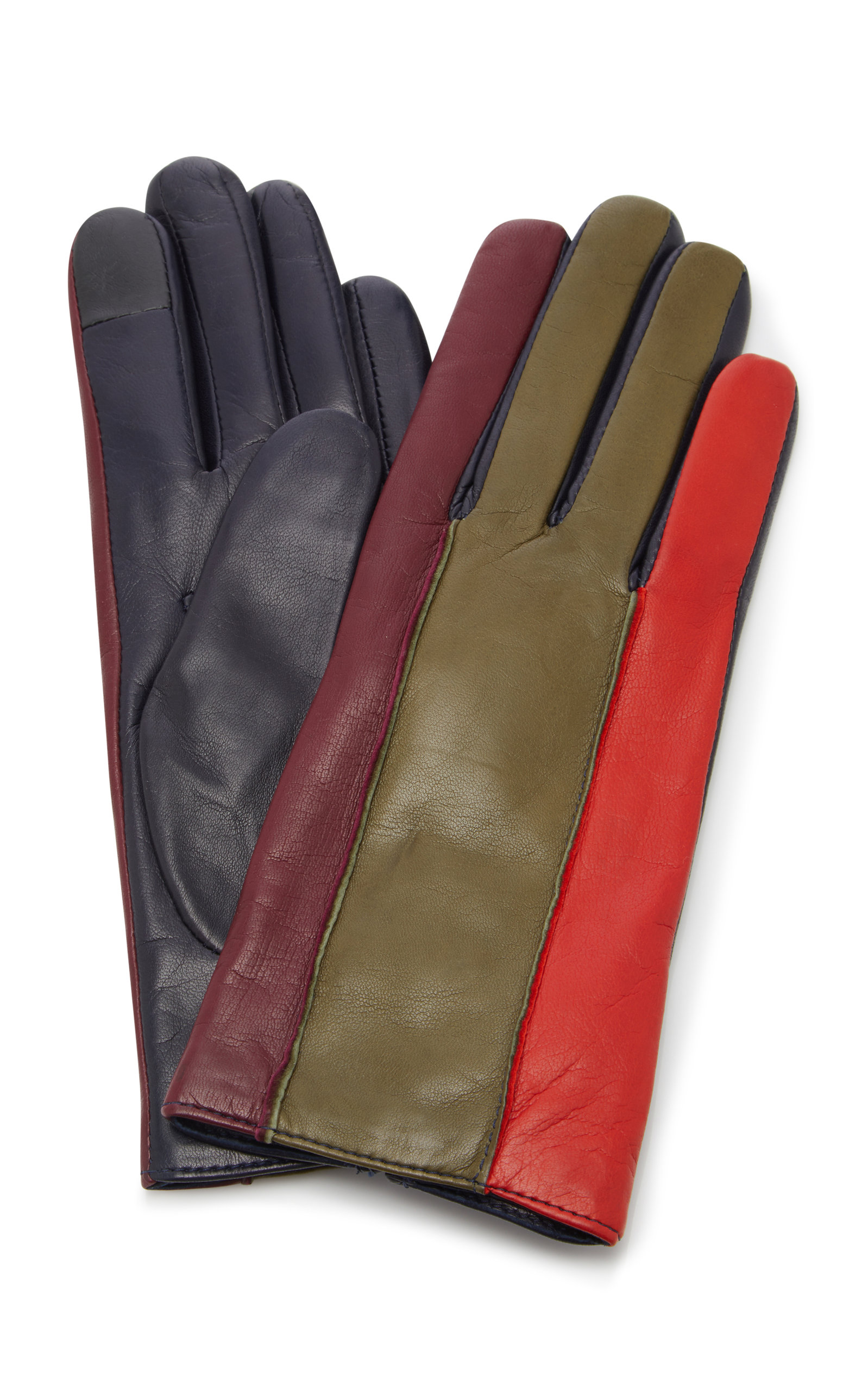 MAISON FABRE Debby Color-Blocked Leather Gloves in Multi