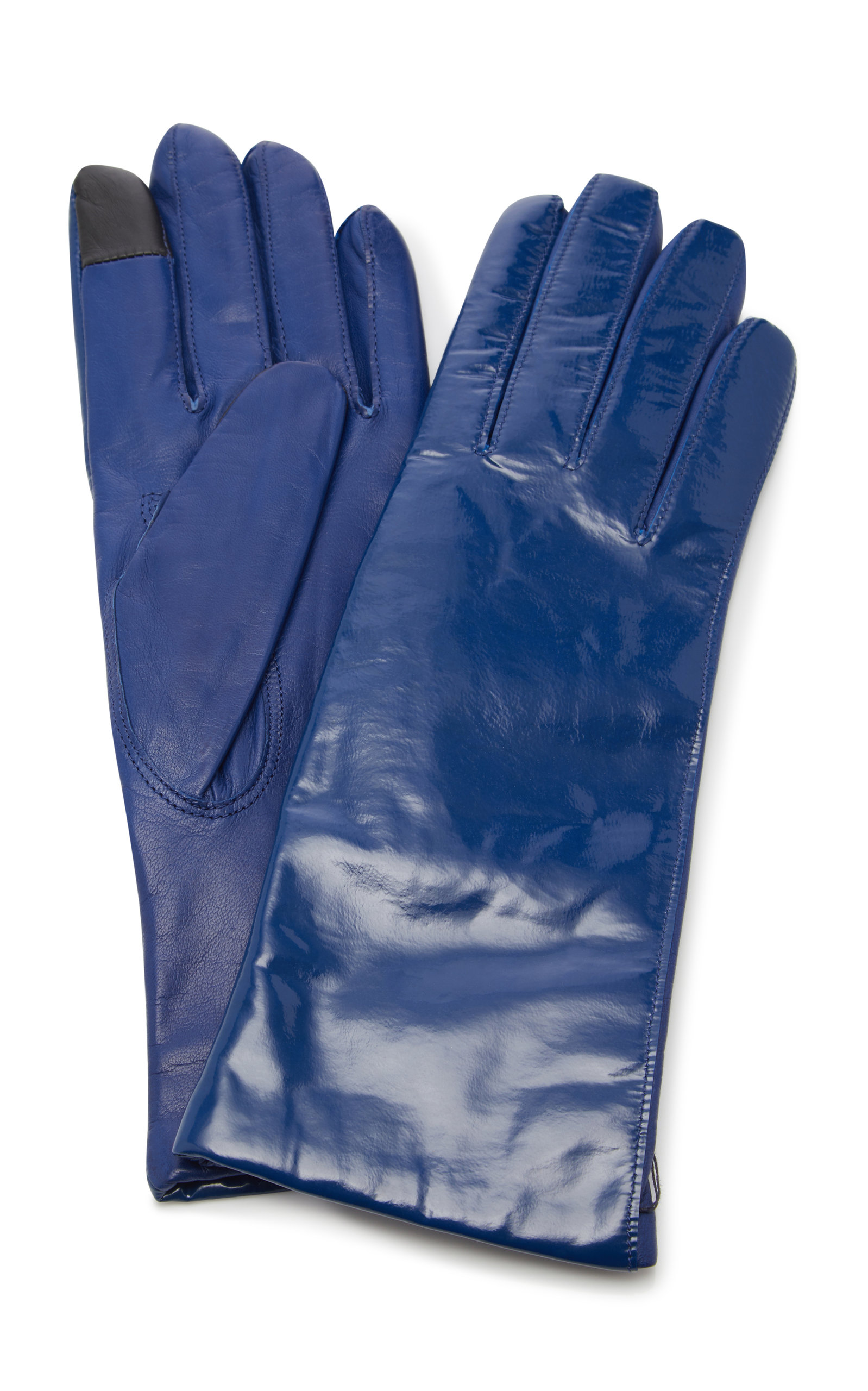 MAISON FABRE Vinyl And Leather Gloves in Blue