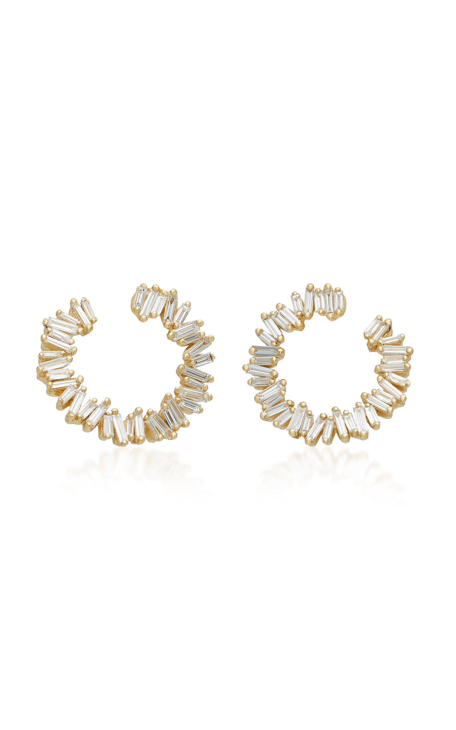Suzanne Kalan SPIRAL 18K GOLD DIAMOND EARRINGS