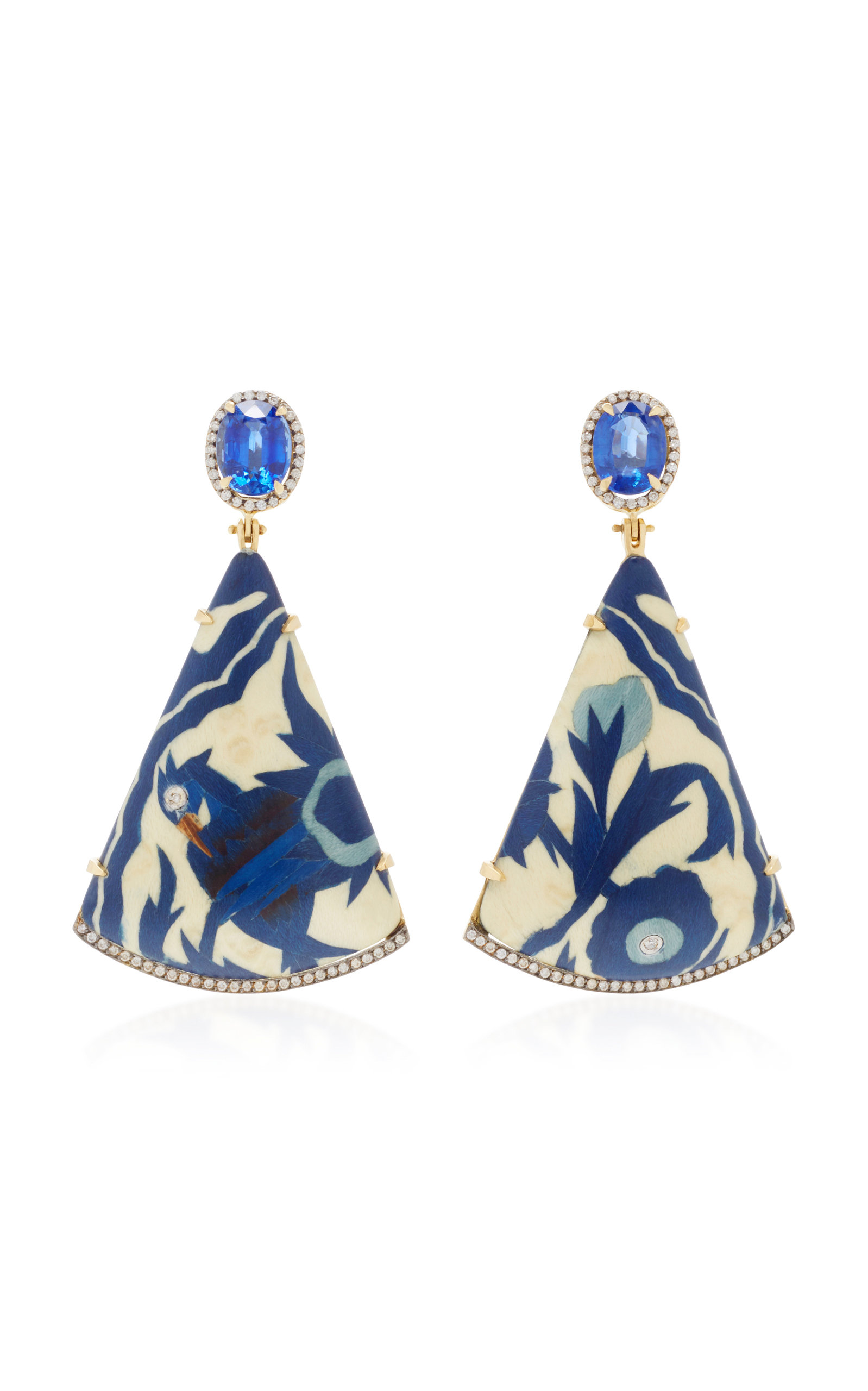 SILVIA FURMANOVICH MARQUETRY BLUE BIRD WOOD DIAMOND AND KYANITE EARRING