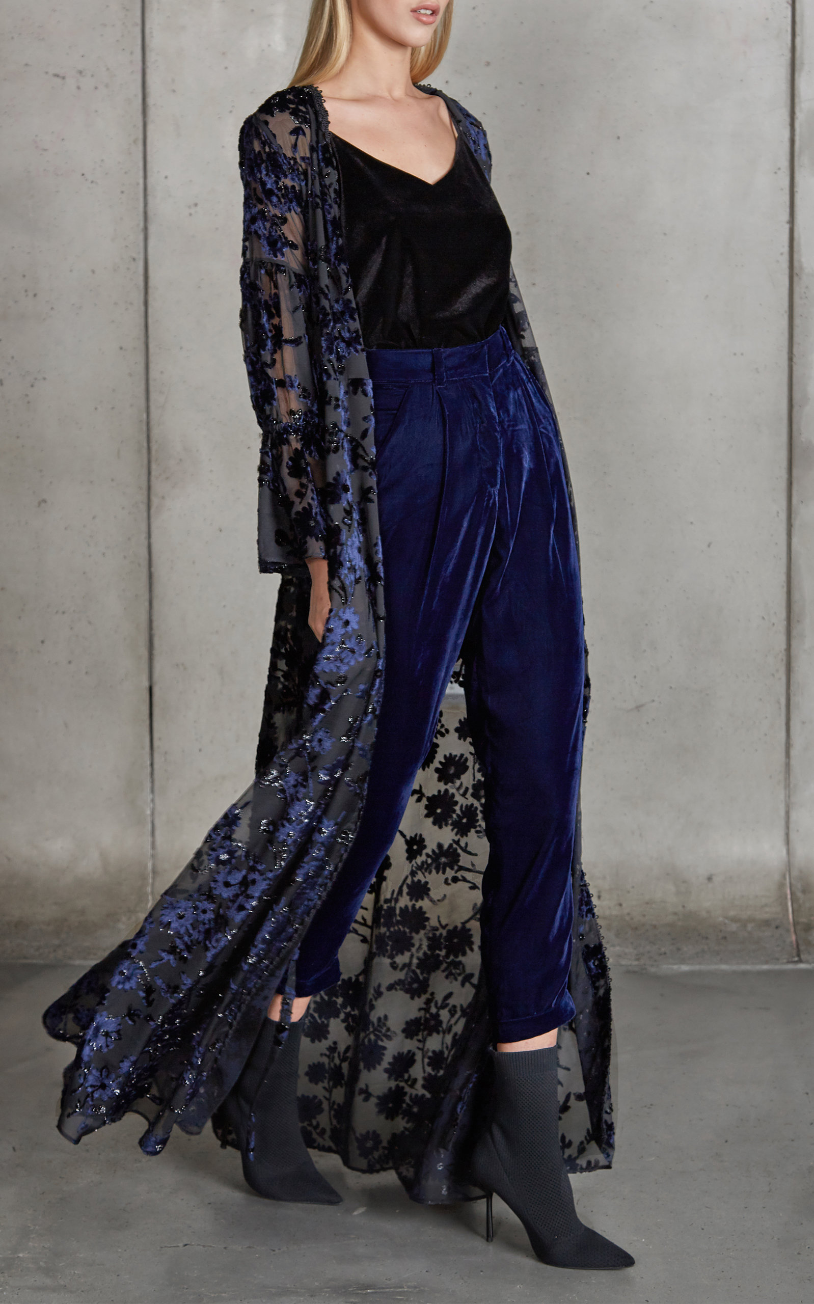 48a16fd014c2e Burnout Velvet Maxi Wrap Dress by PatBO | Moda Operandi