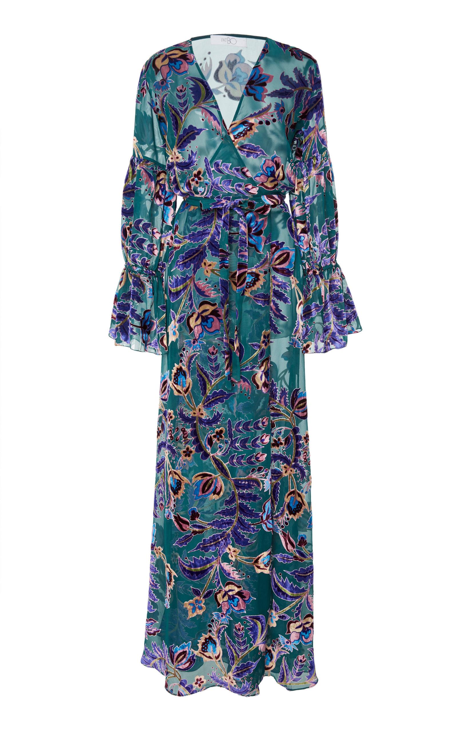 PATBO Burnout Velvet Maxi Wrap Dress in Print