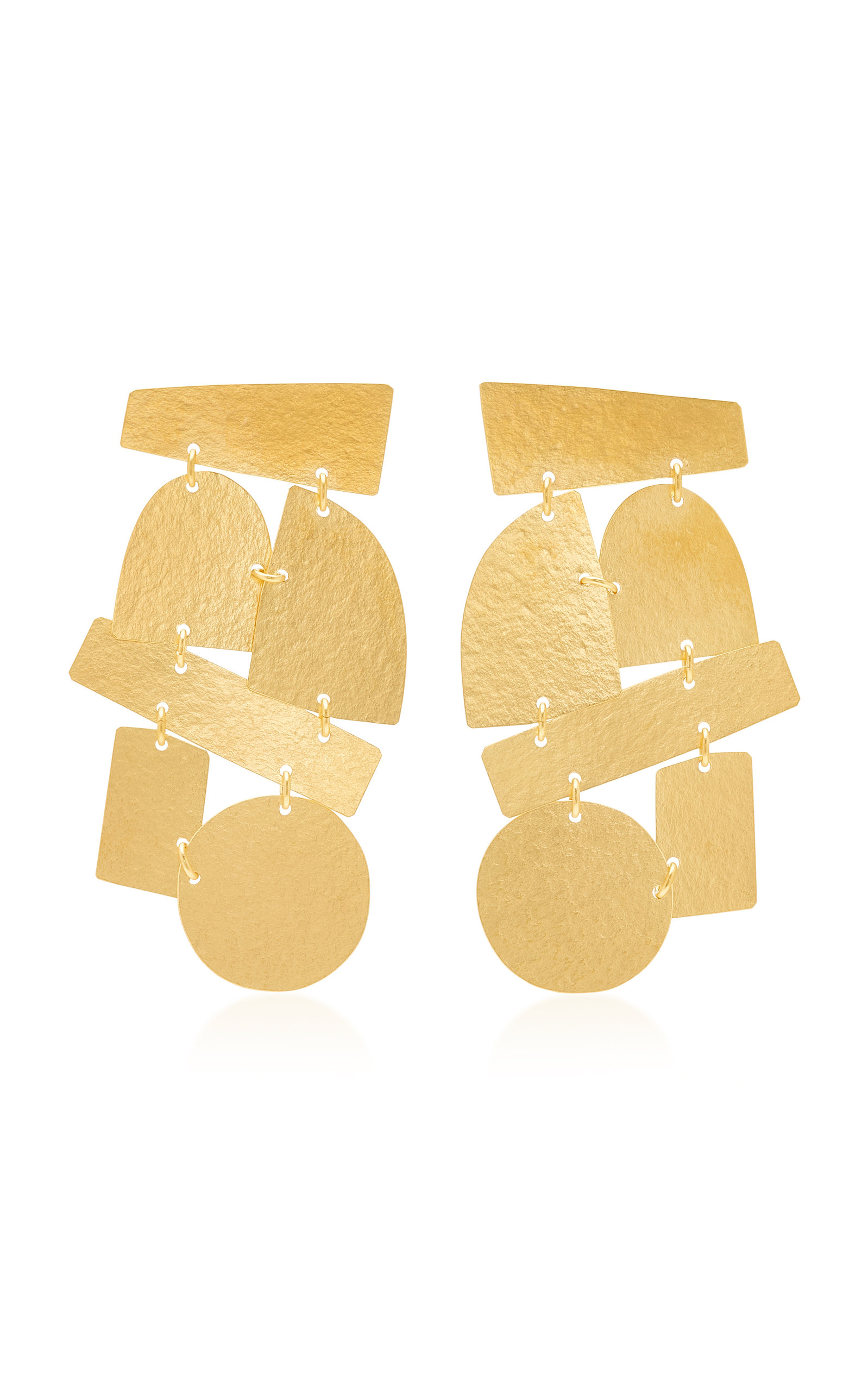 ANNIE COSTELLO BROWN PARADISO 18K GOLD-PLATED EARRINGS